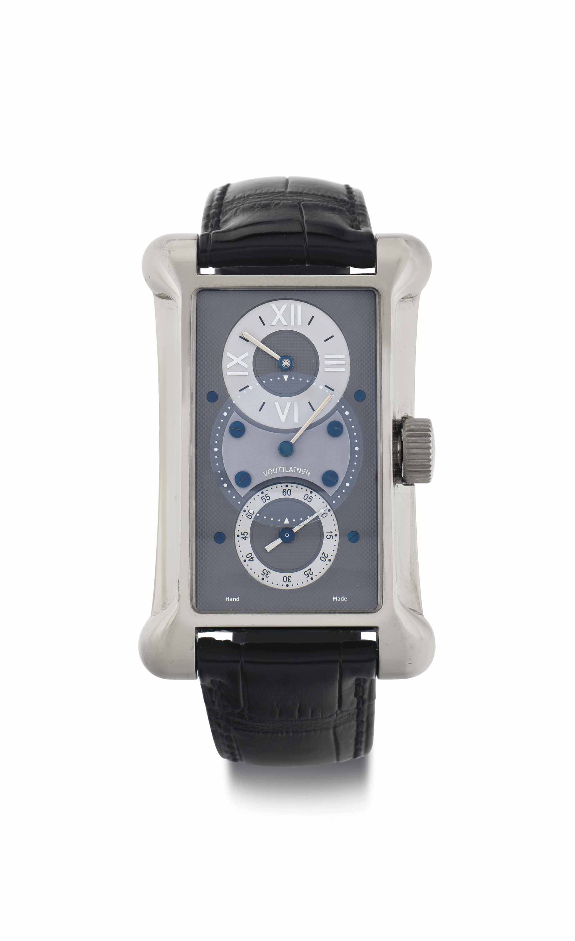 Kari Voutilainen. A Very Fine 18k White Gold Wristwatch with Regulator Dial