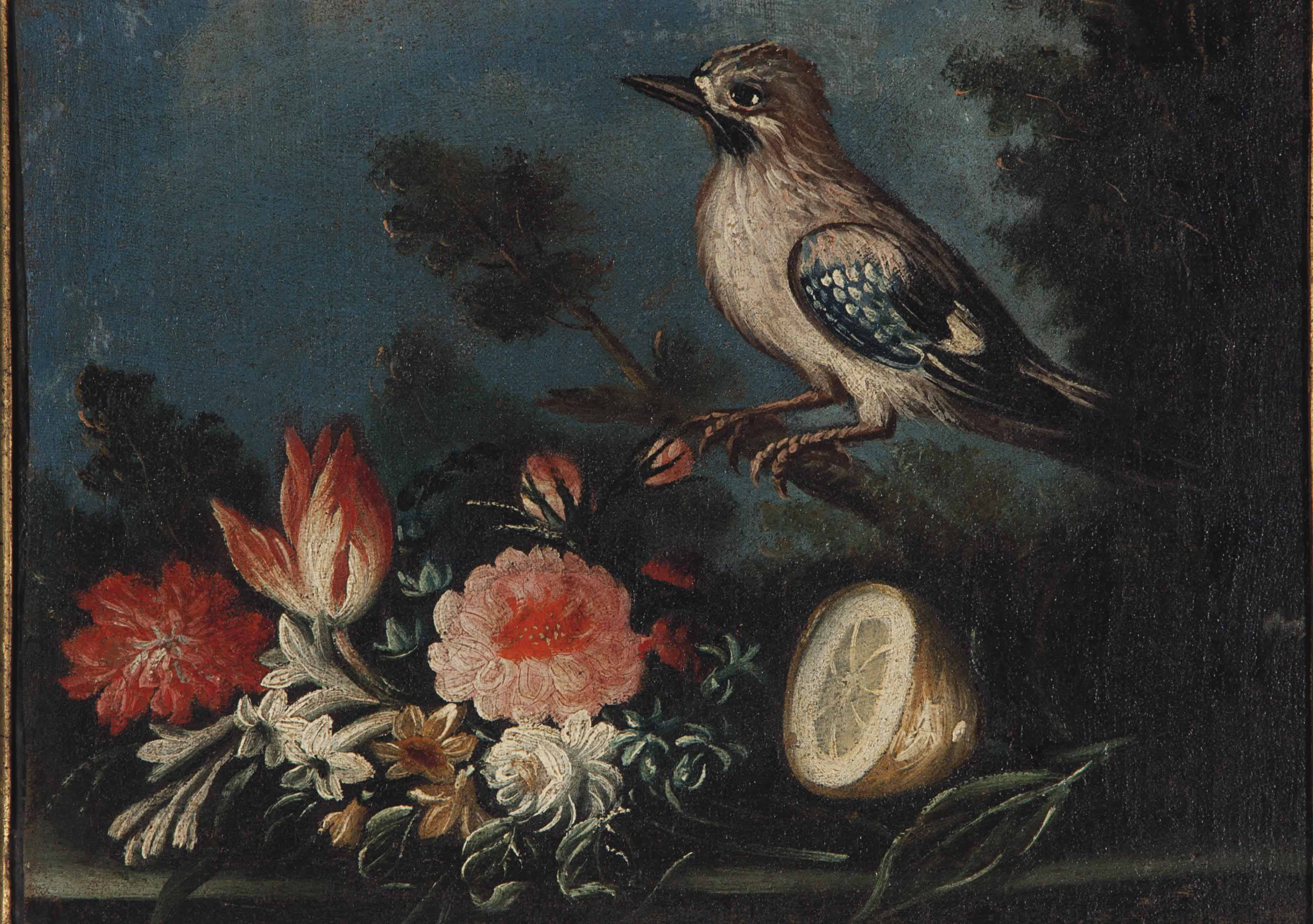 Still life with lemon, bird and bouquet of flowers; and a companion painting