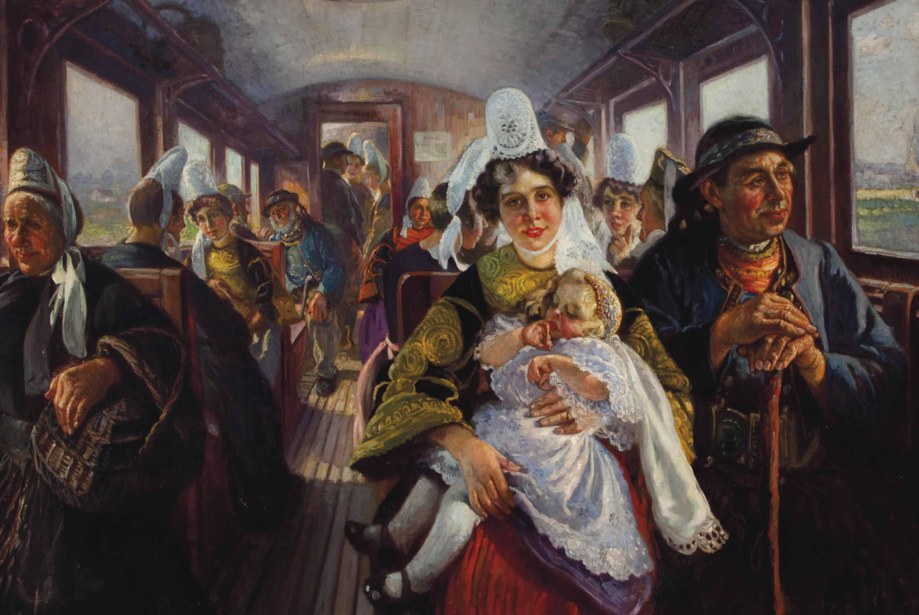 A family on a train