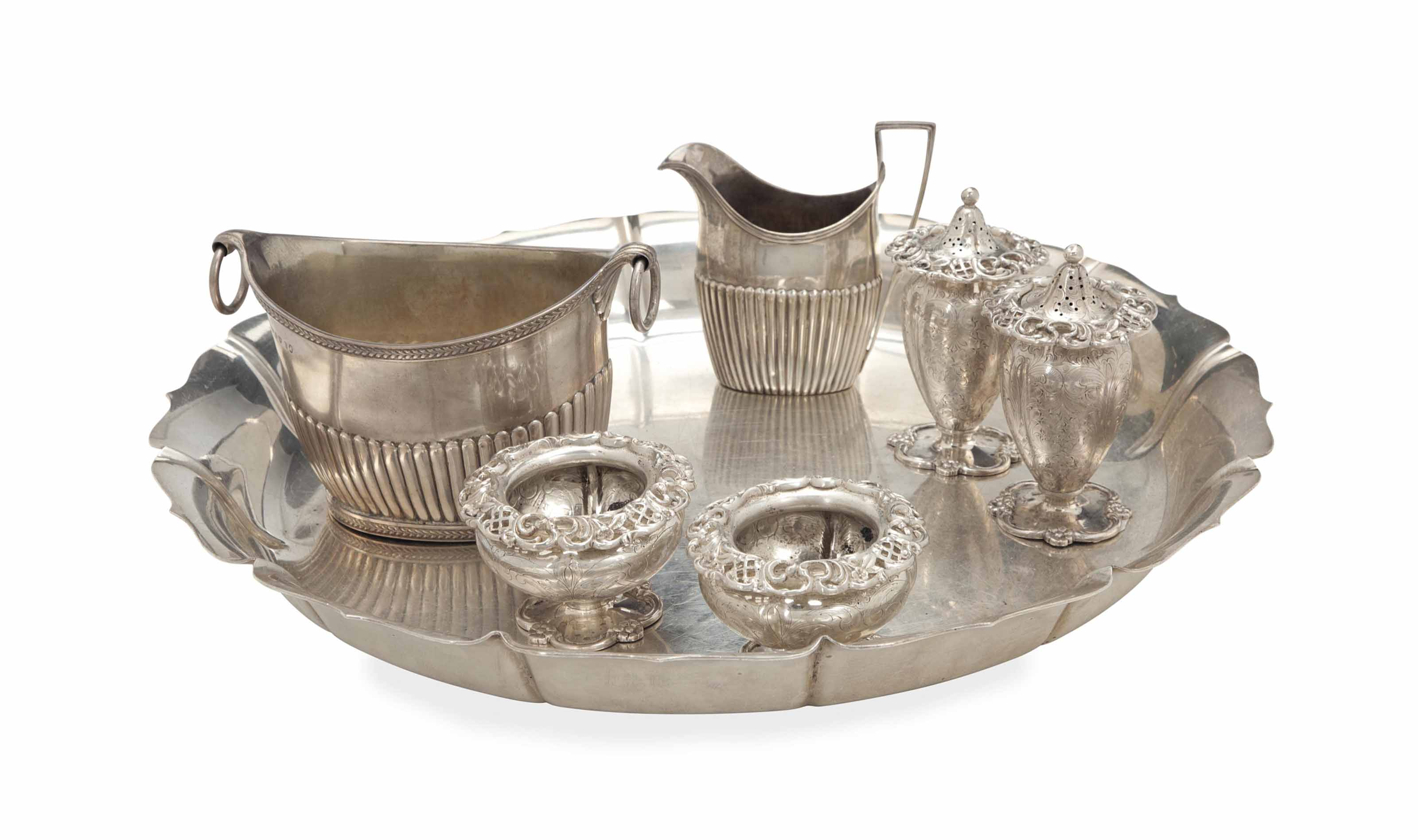 A GEORGE III SILVER SUGAR BASKET AND CREAM JUG, AND A GROUP OF AMERICAN SILVER SERVING WARES,