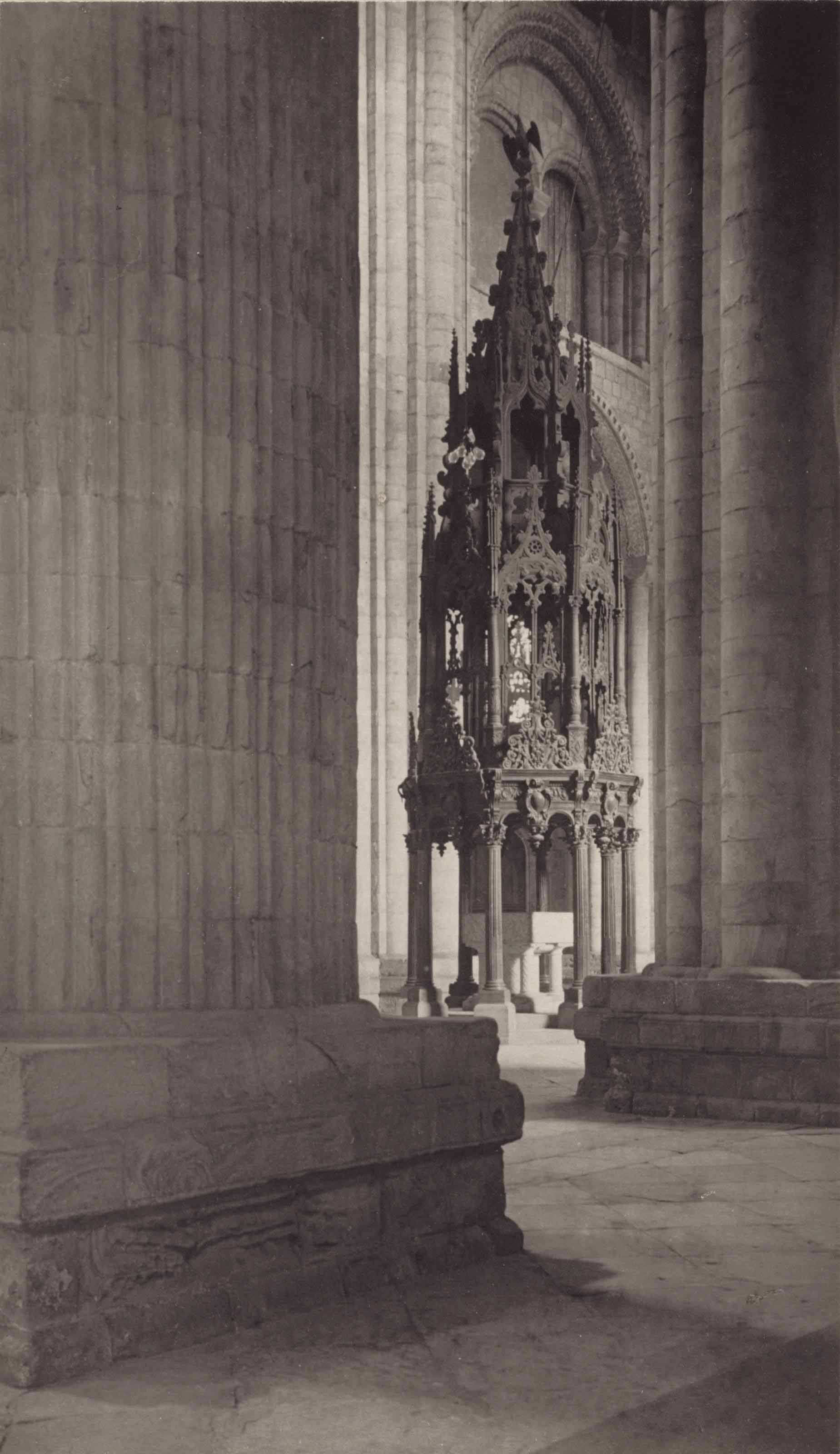 Durham Cathedral, Nave, Aisle and Font, c. 1900