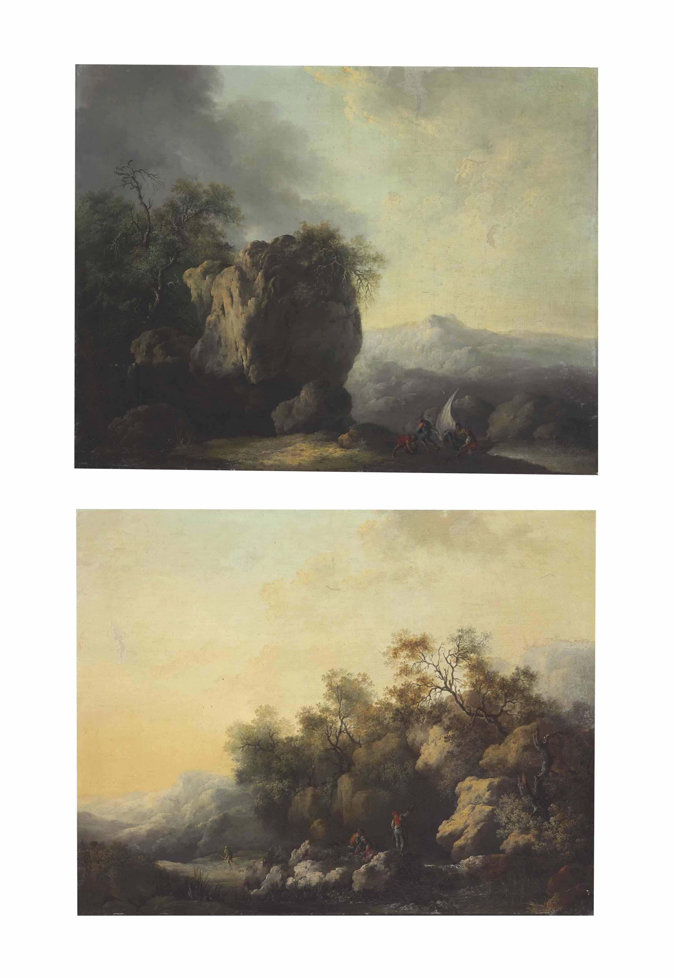 A rocky landscape with fishermen pulling a boat ashore; and A rocky landscape with figures standing beside a stream
