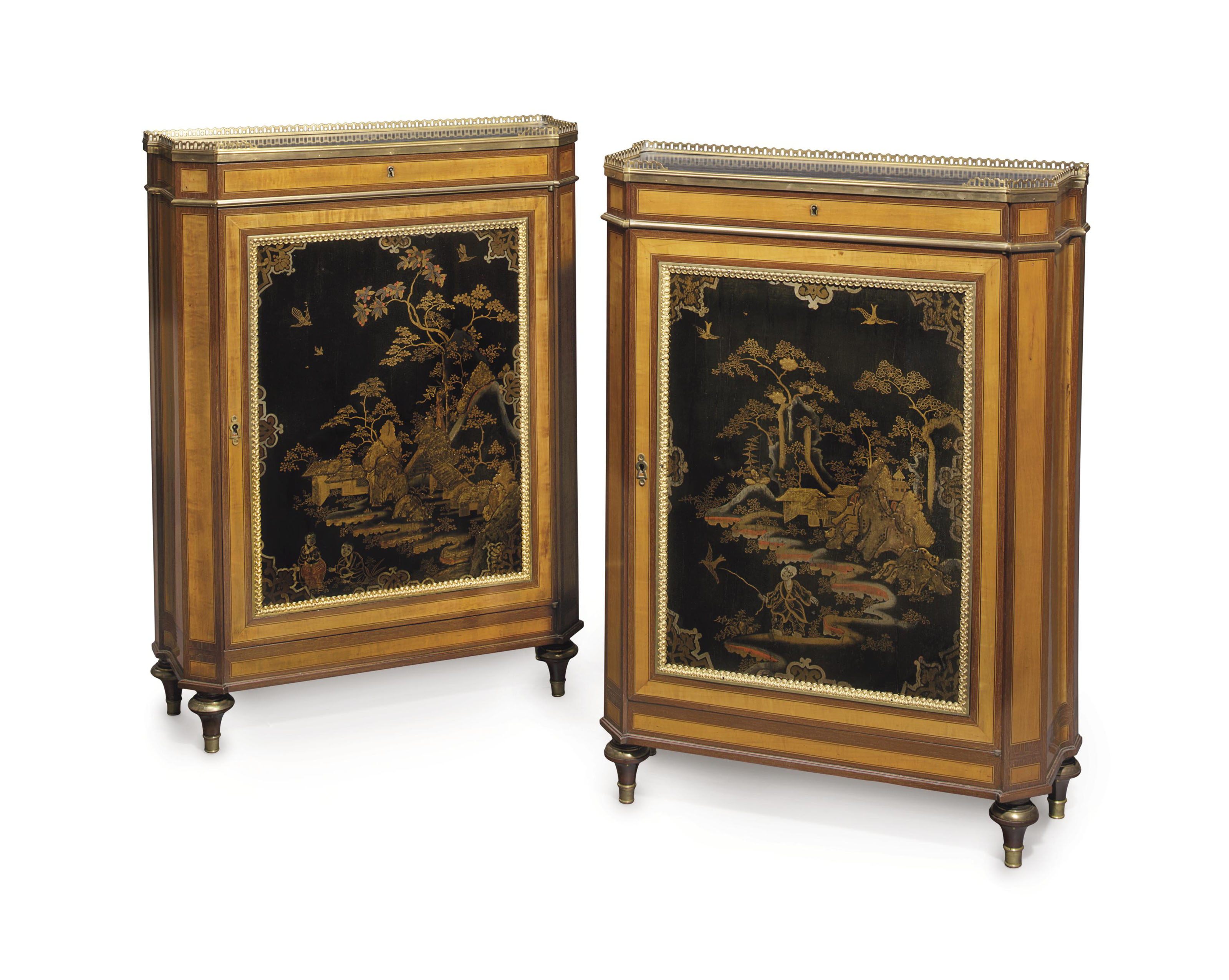 A PAIR OF FRENCH ORMOLU-MOUNTED SATINWOOD, AMARANTH AND POLYCHROME-LACQUERED SIDE CABINETS