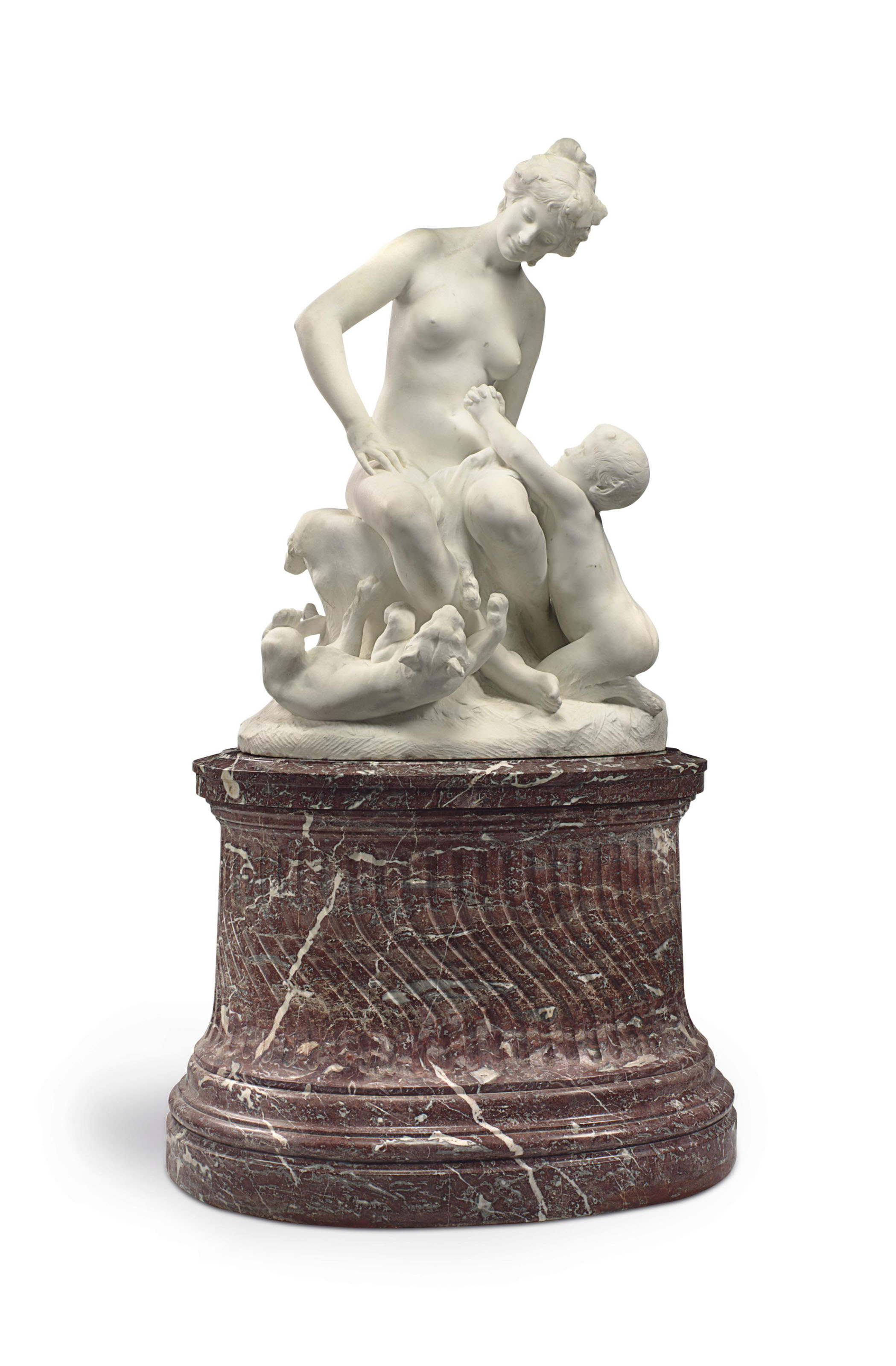 A LIFE-SIZE FRENCH MARBLE FIGURAL GROUP, ON PEDESTAL