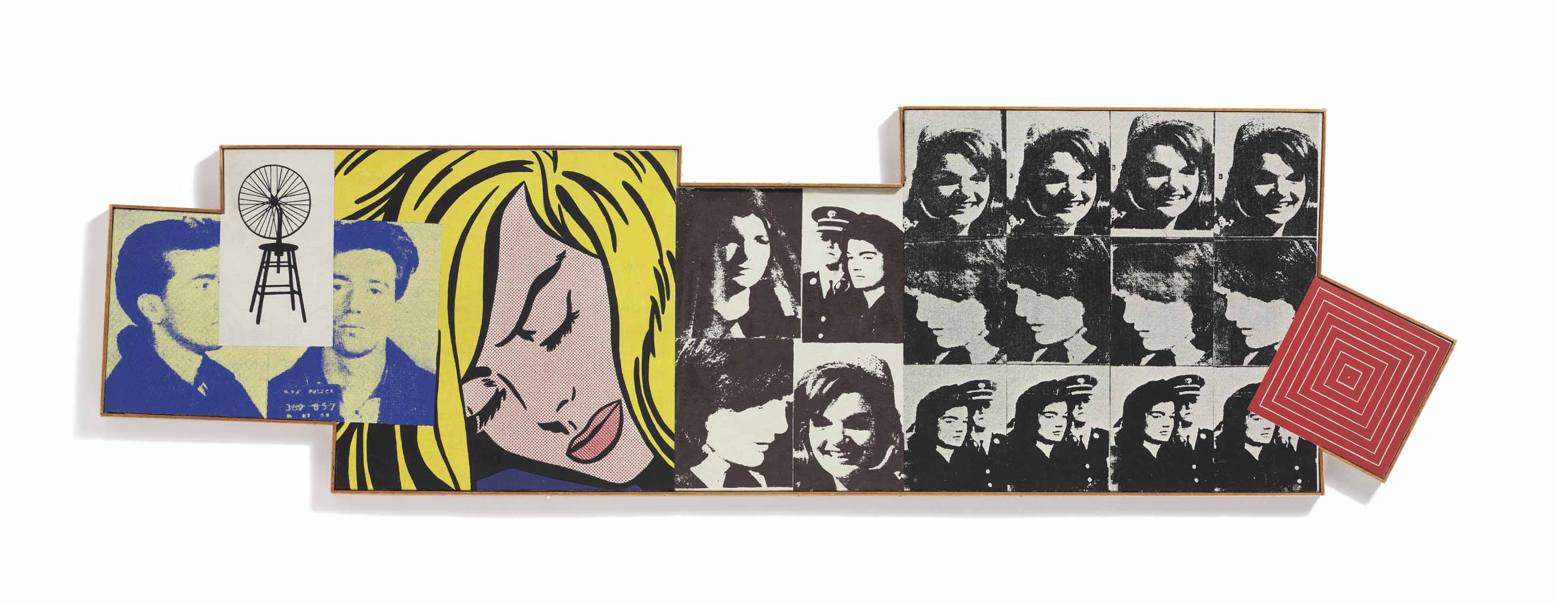 "Marcel Duchamp, ""Bicycle Wheel,"" 1913; Andy Warhol, ""Most Wanted Man,"" 1964; Roy Lichtenstein, ""Sleeping Girl,"" 1964; Andy Warhol, ""16 Jackies,"" 1964; and Frank Stella, ""Island #10,"" 1962"