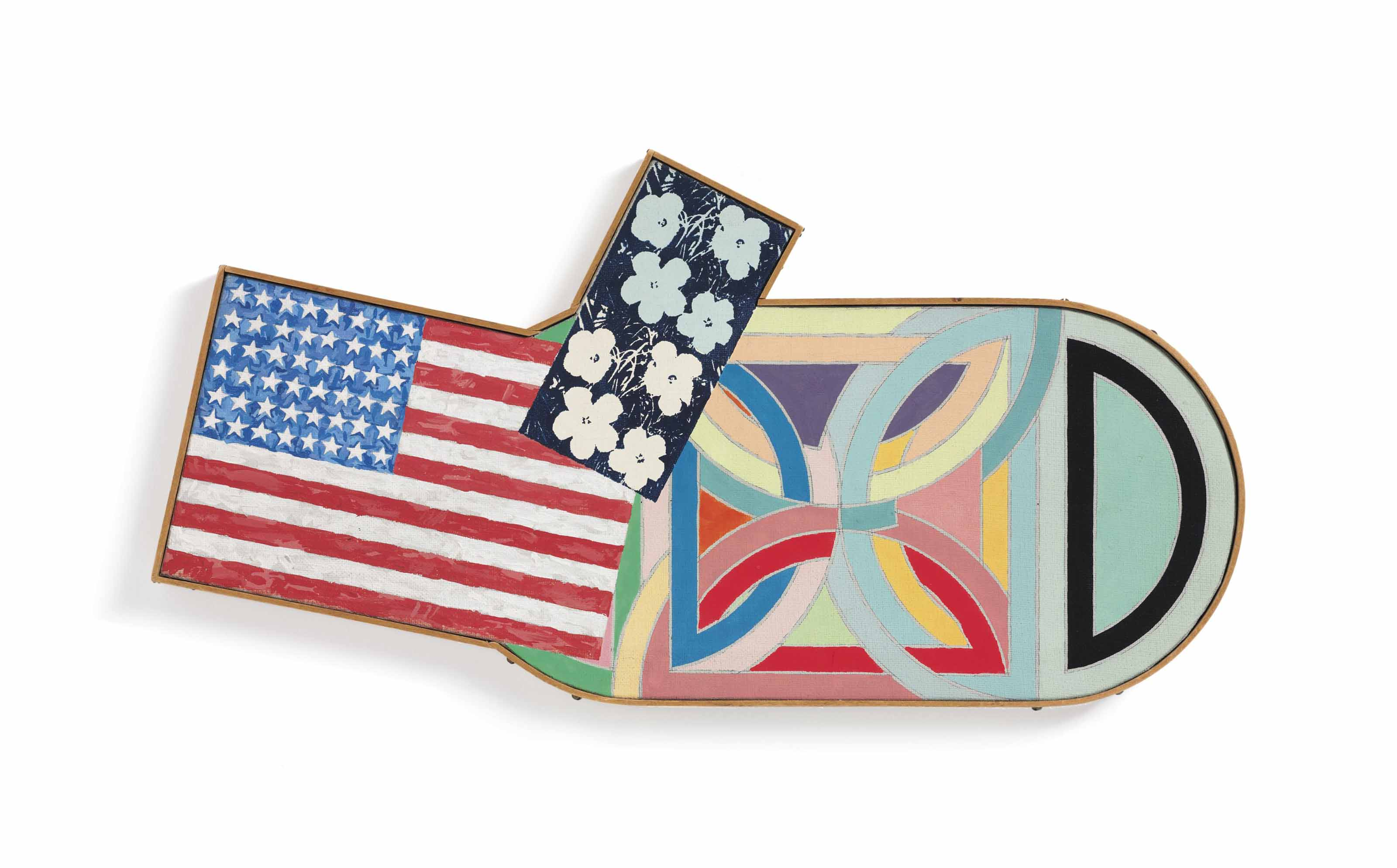 "Jasper Johns, ""Flag,"" 1954-55; Andy Warhol, ""Flower,"" 1964 (two times); and Frank Stella, ""Hiragla Variatia I,"" 1969"