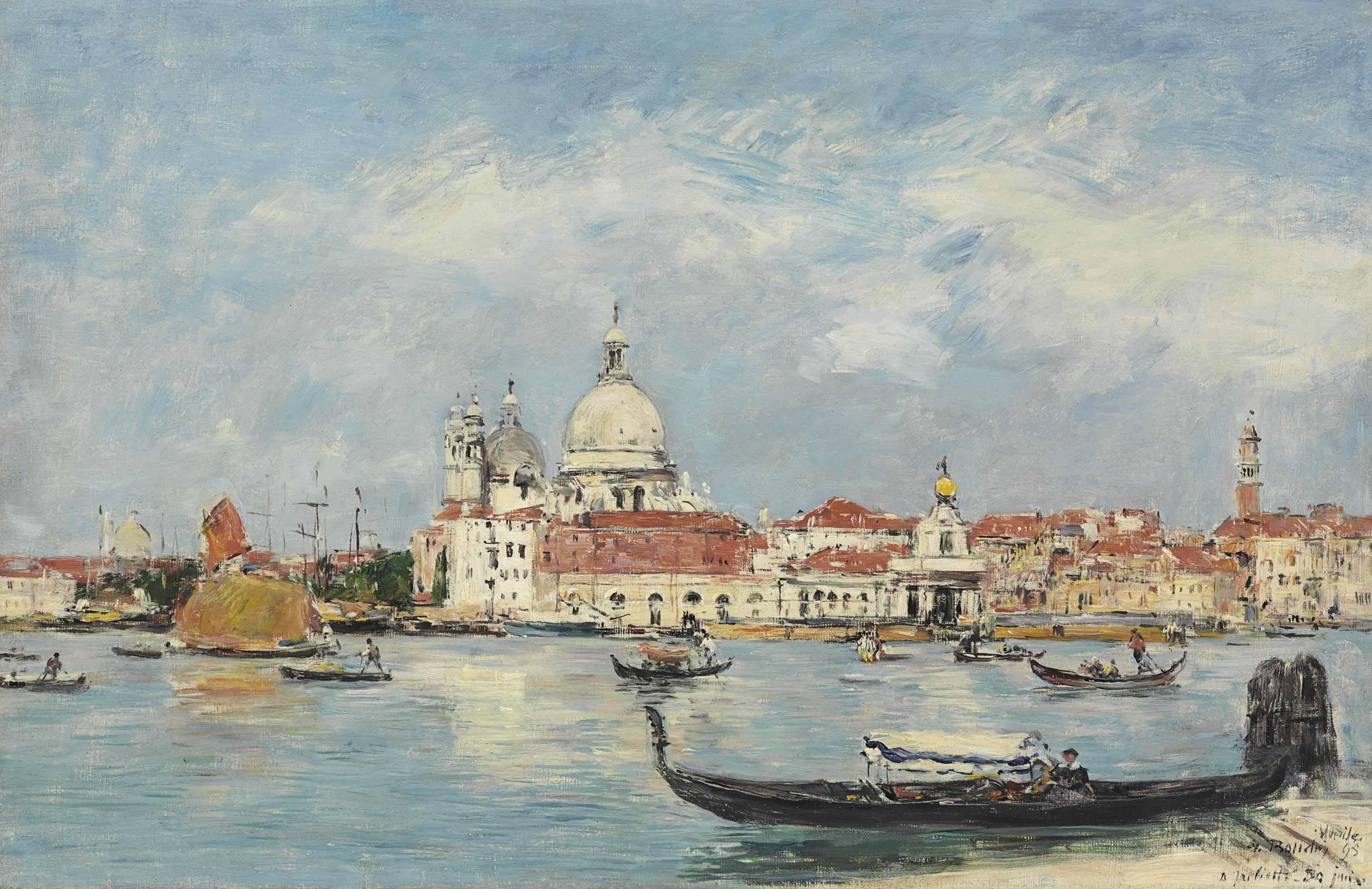 Venise, la Salute, la Douane, la Giudecca au fond, vue prise du Grand Canal