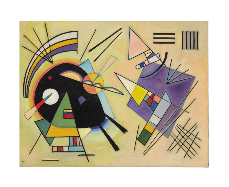 Wassily Kandinsky (1866-1944), Schwarz und Violett, April 1923. 30⅝ x 39½  in (77.8 x 100.4 cm). Sold for $12,597,000 on 5 November 2013  at Christie's in New York