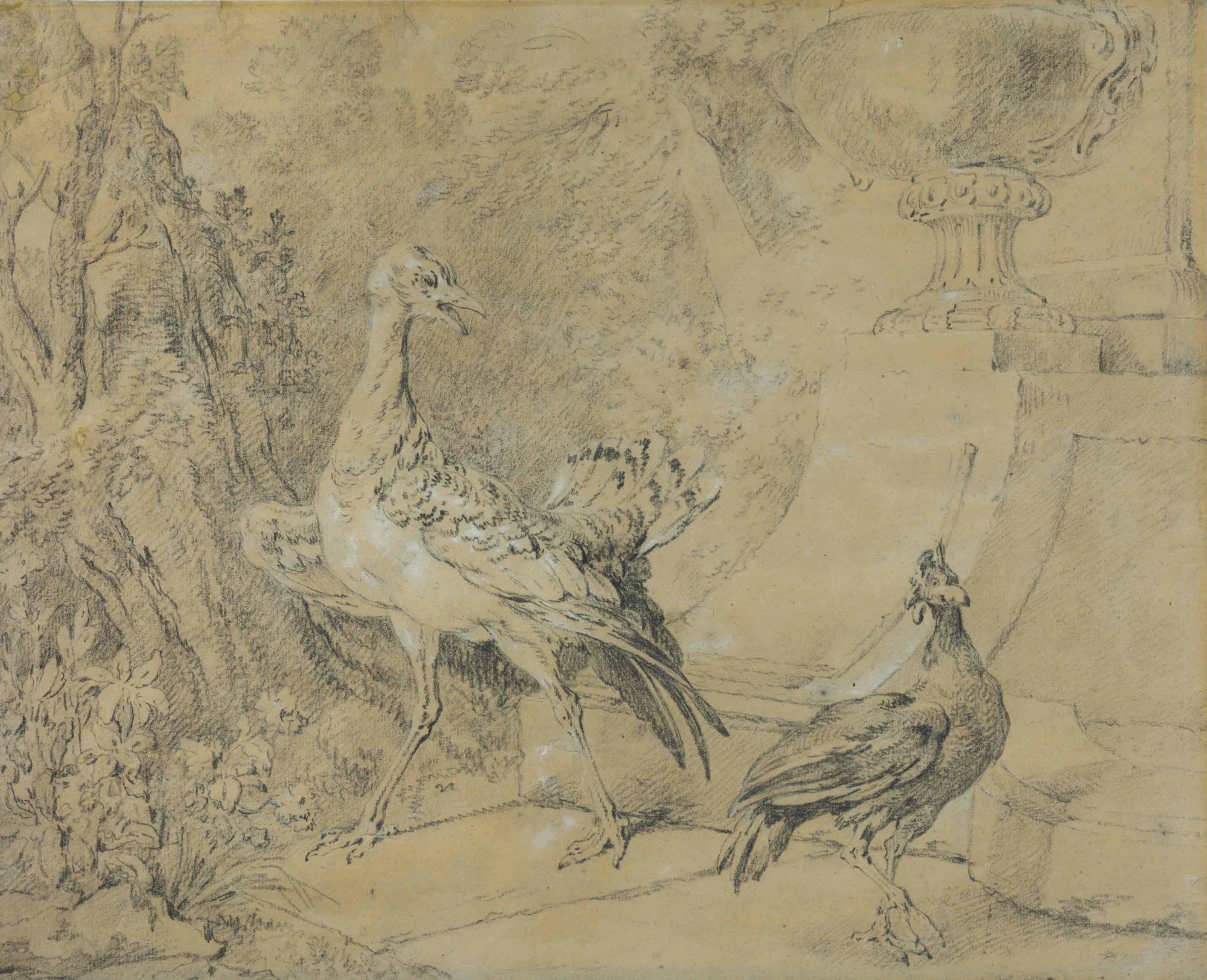 Two birds in a landscape