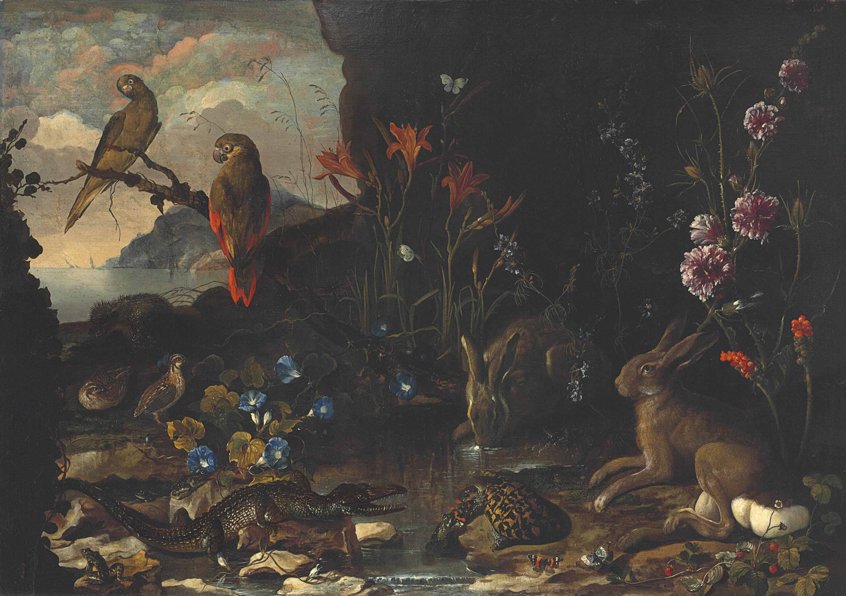 Hares, a tortoise, a crocodile, frogs, quails, a hedgehog, butterflies, dragonflies and parakeets by a pool, with flowers, strawberries and a river in the distance