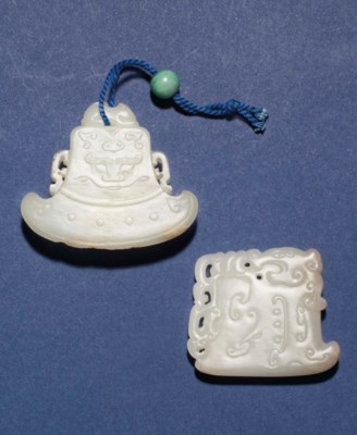TWO SMALL JADE ARCHAISTIC AXE-
