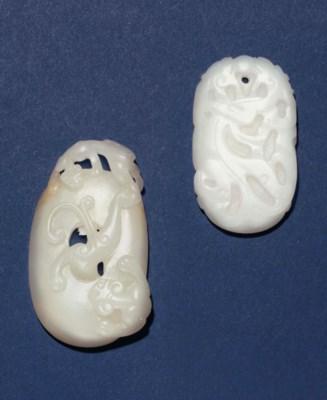 TWO WHITE JADE OVAL PENDANTS