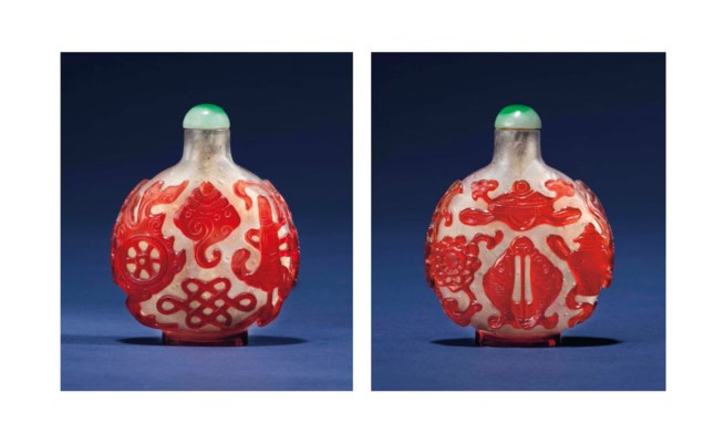 A RED-OVERLAY GLASS 'BAJIXIANG
