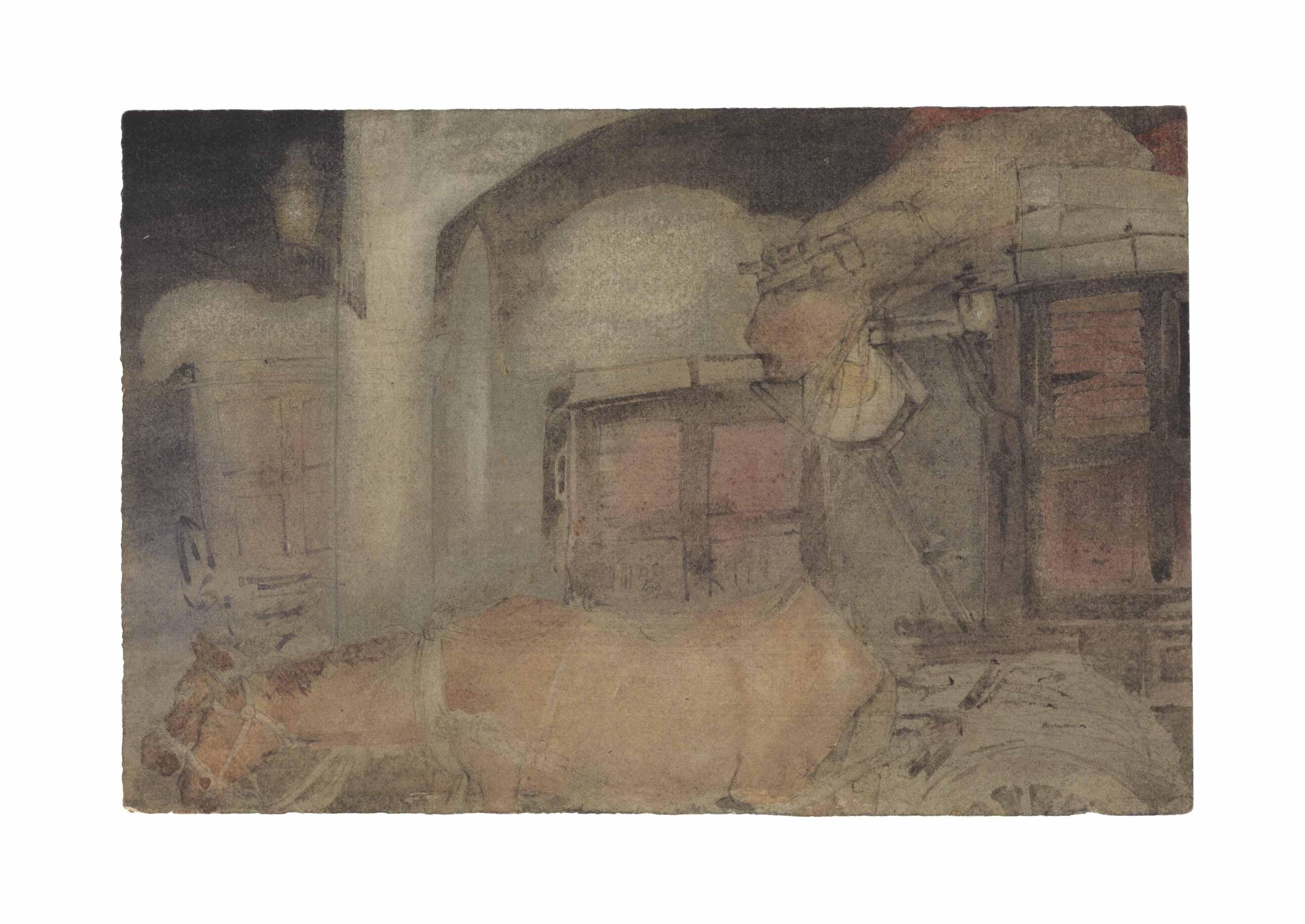 Untitled (Calcutta Night Scene with Horse Drawn Carriage)