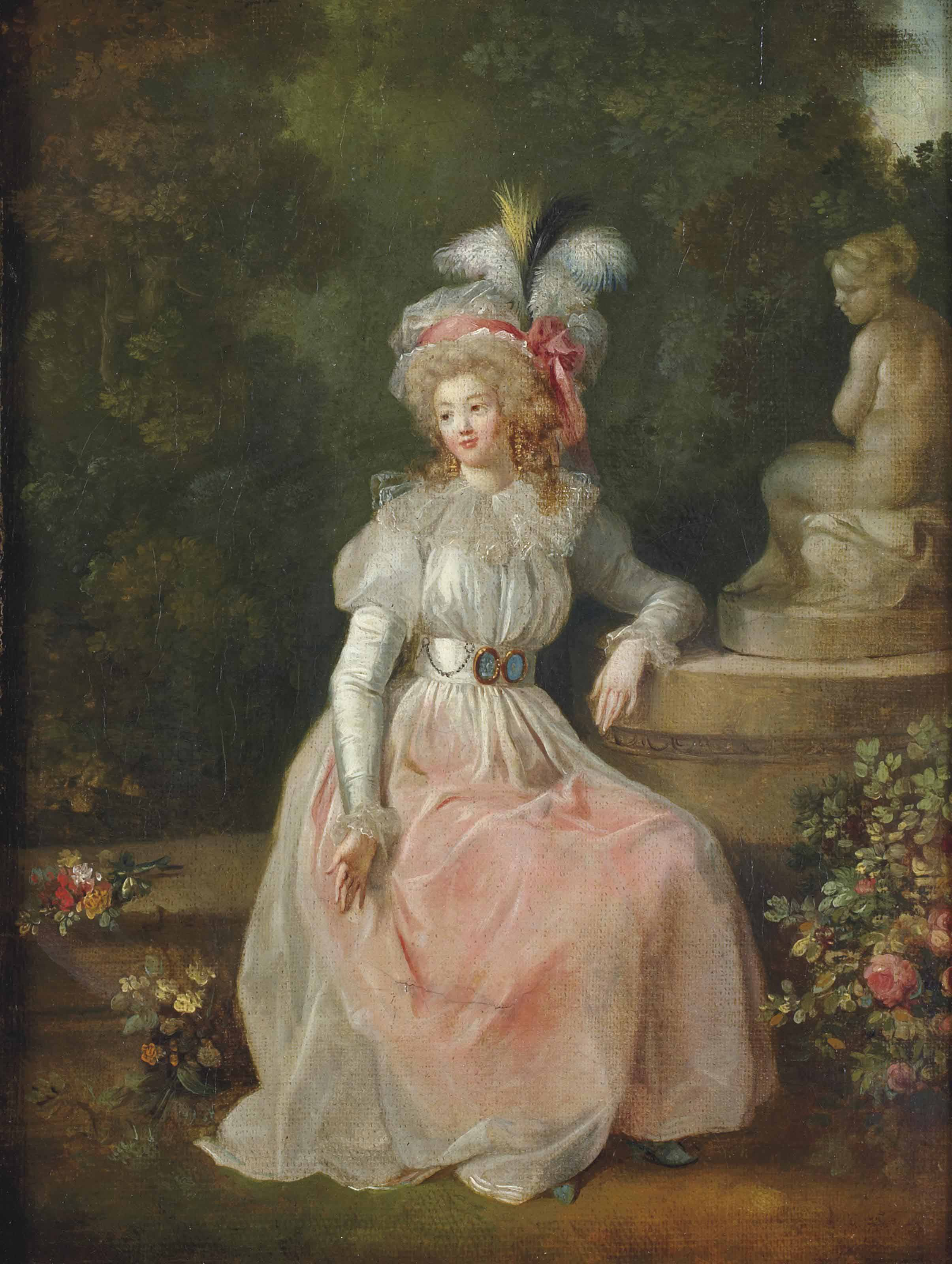 Une dame assise dans un parc