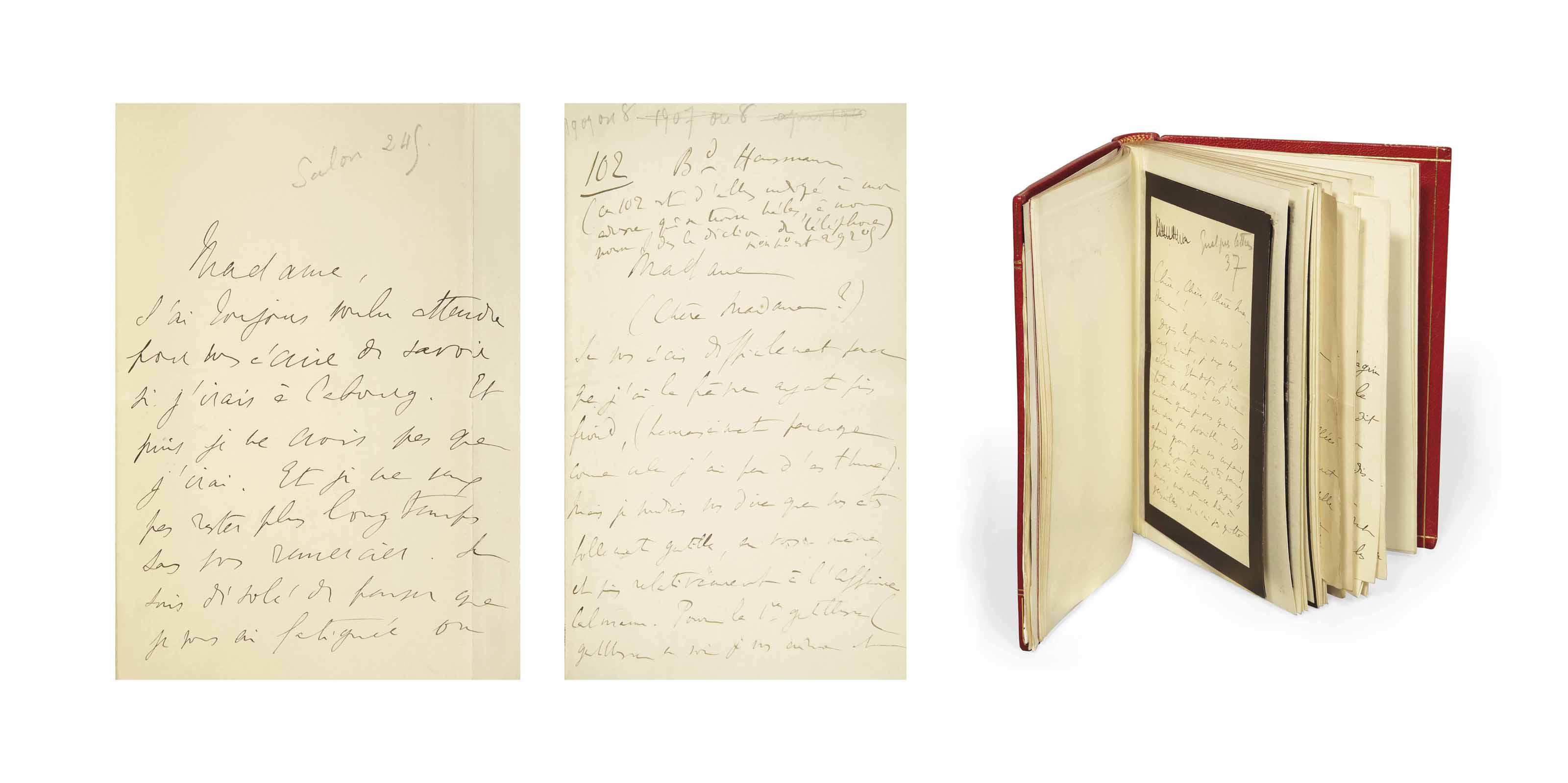PROUST, Marcel (1871-1922). Réunion de 20 lettres autographes signées dont 19 à Jeanne Pouquet et une à Marie Scheikévitch. À ces lettres s'ajoutent deux pneumatiques adressés à Gaston de Caillavet. Entre 1907 et 1917.