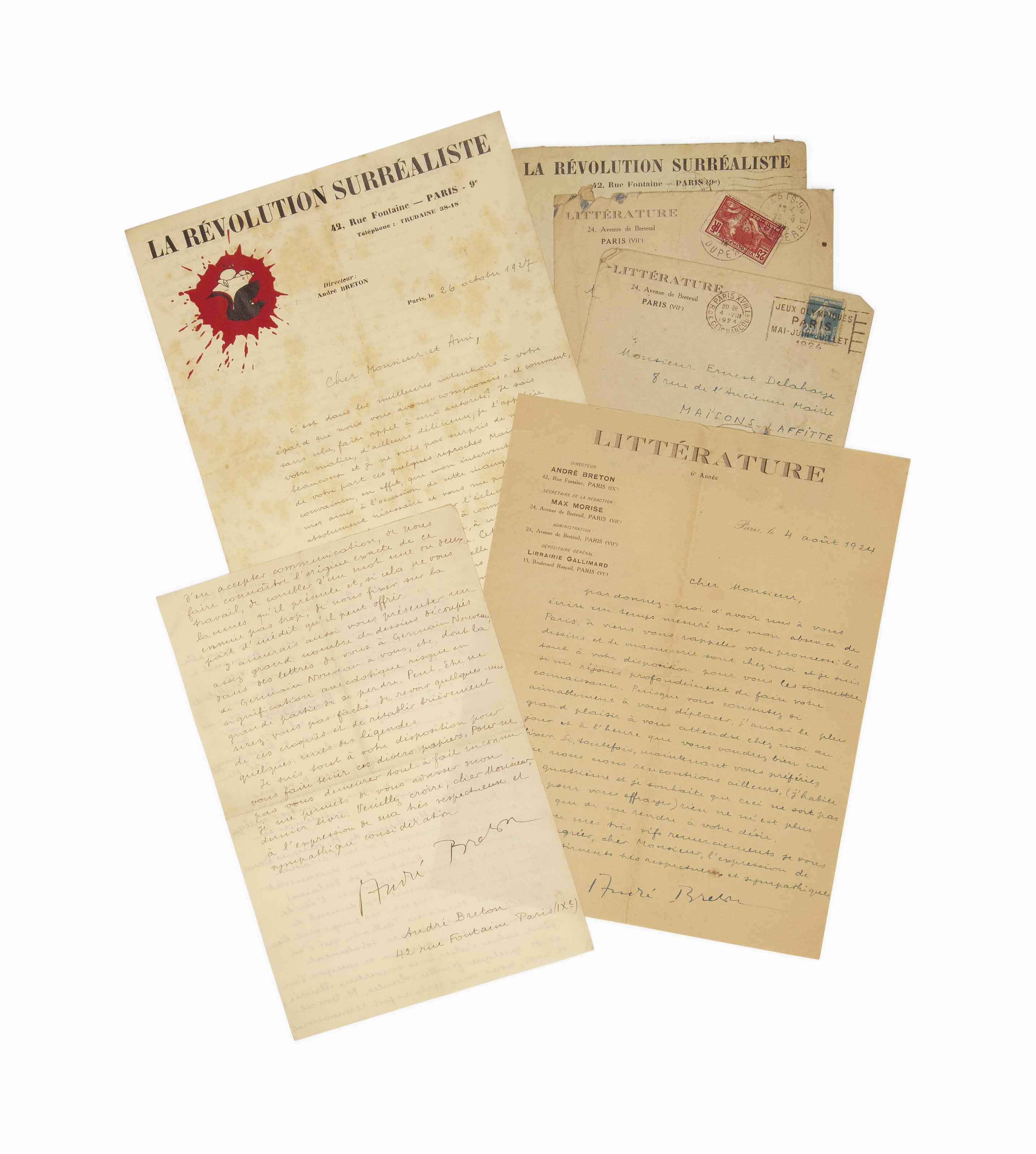 BRETON, André (1896-1966). Réunion de trois lettres autographes signées à Ernest Delahaye. Provenance: Ernest Delahaye et par descendance au propriétaire actuel.