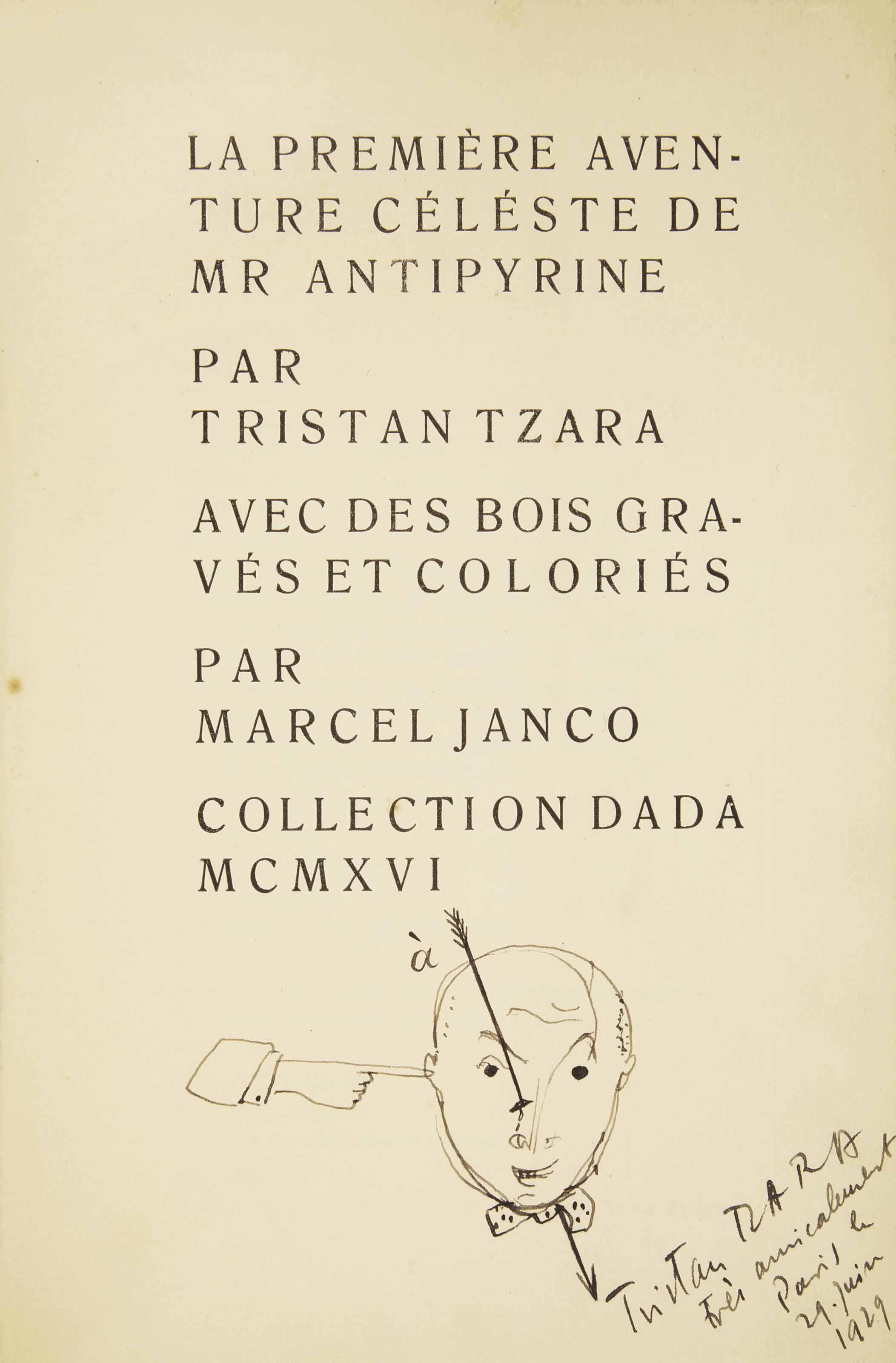 [JANCO] - TZARA, Tristan (1896-1963). La Première aventure céleste de Mr. Antipyrine. Avec des bois gravés et coloriés par Marcel Janco. Zürich: J. Heuberger pour Collection Dada, 1916.