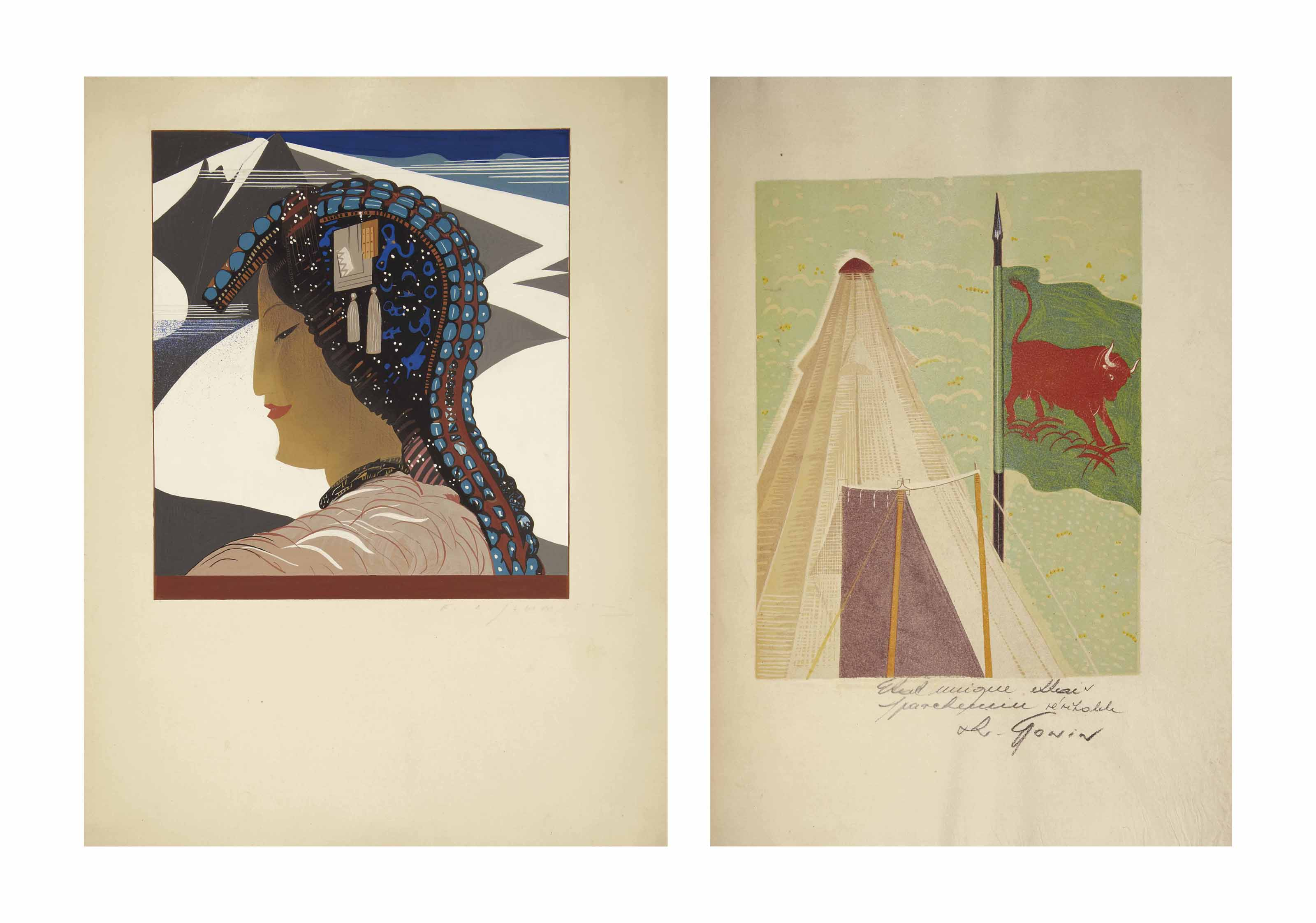 [SCHMIED] -- KIPLING, Rudyard (1865-1936). Kim. Traduit par Louis Fabulet et Ch. Fountaine-Walker. Illustrations de F. L. Schmied. Lausanne: Gonin et Cie., 1930.
