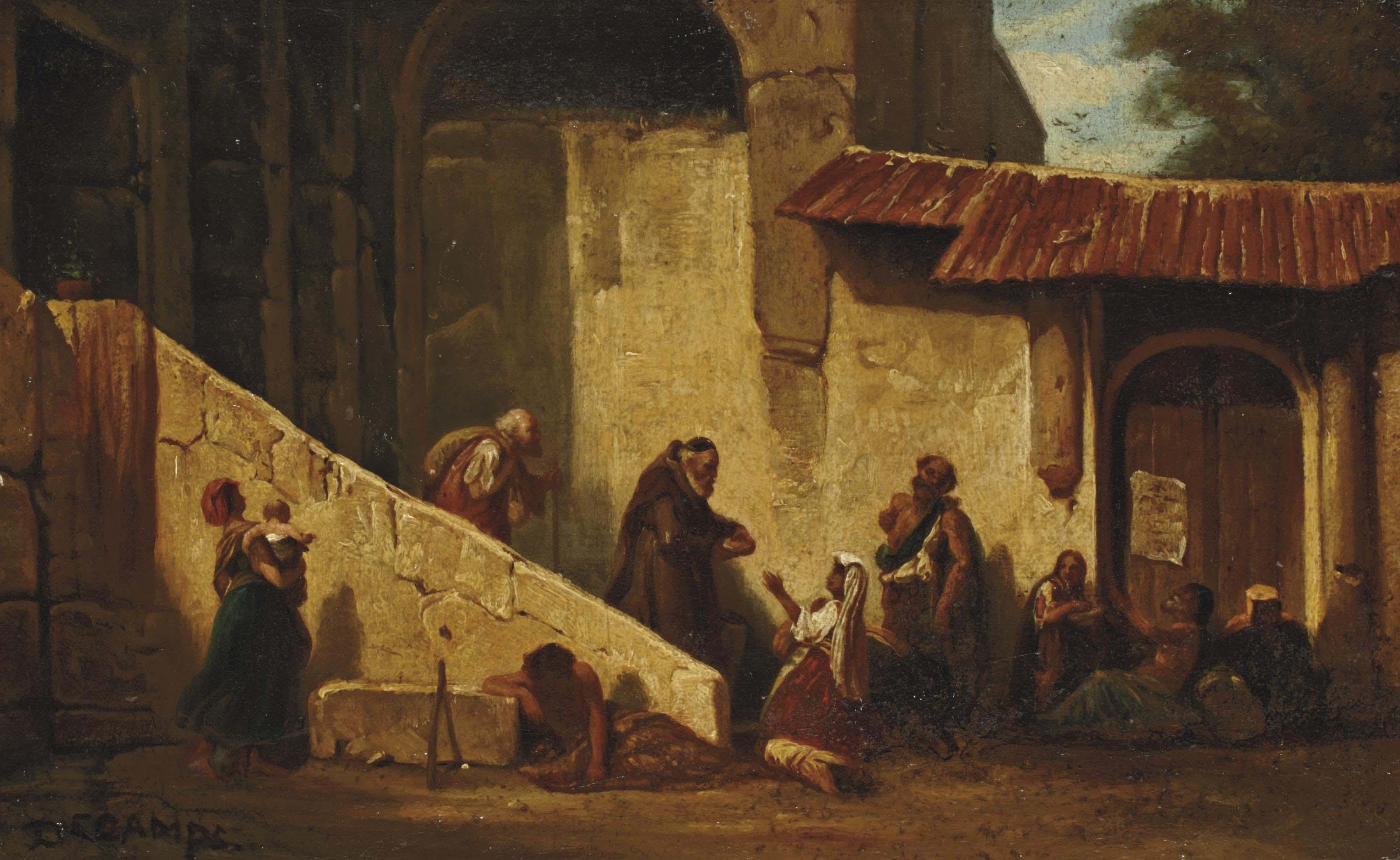Moine auprès de mendiants dans une cour