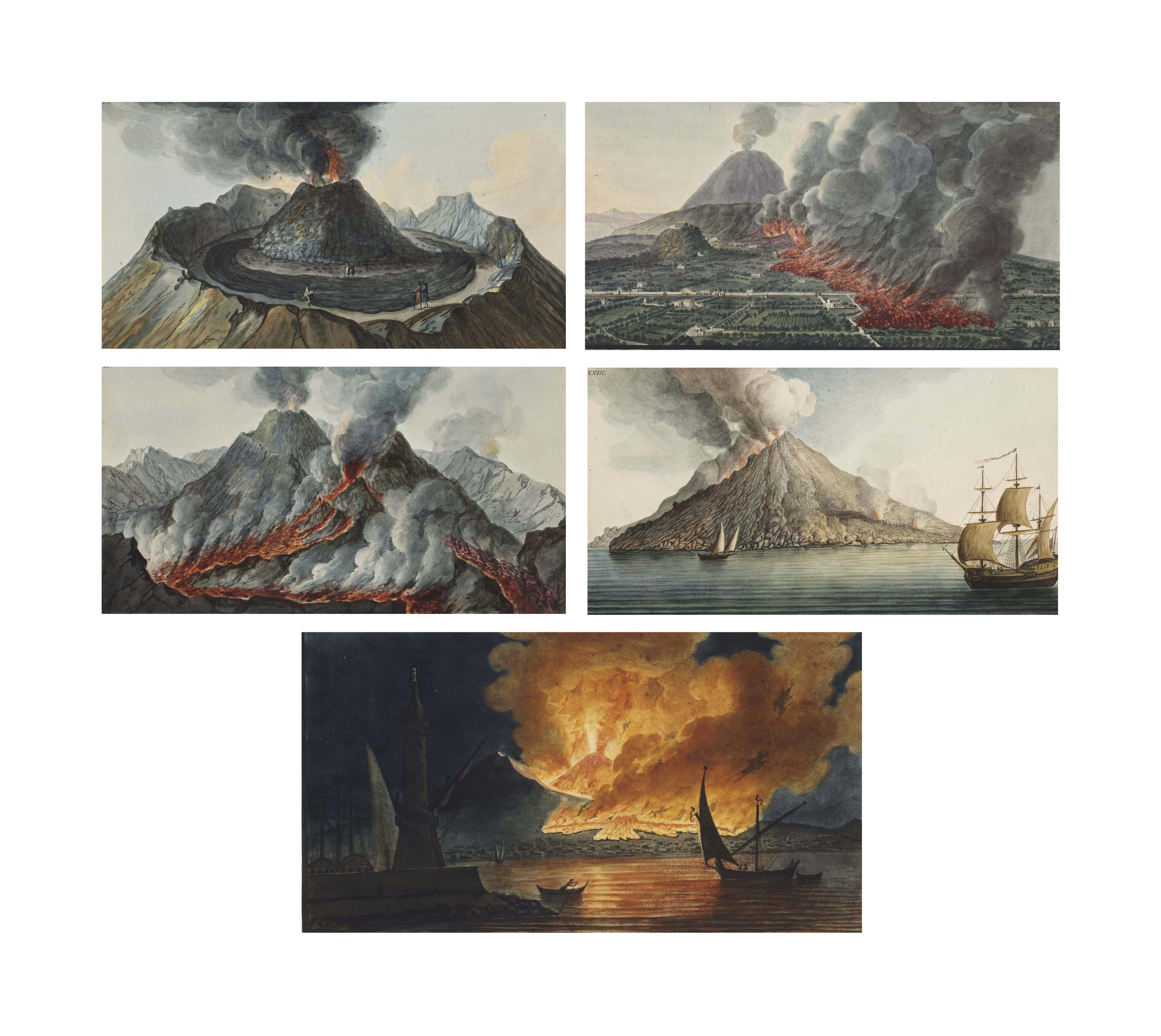 Huit planches aquarellées de volcans en éruption provenant de l'ouvrage 'Campi Phlegraei. Observations on the Volcanoes of the two Sicilies as they have been communicated to the Royal Society of London' par Sir William Hamilton