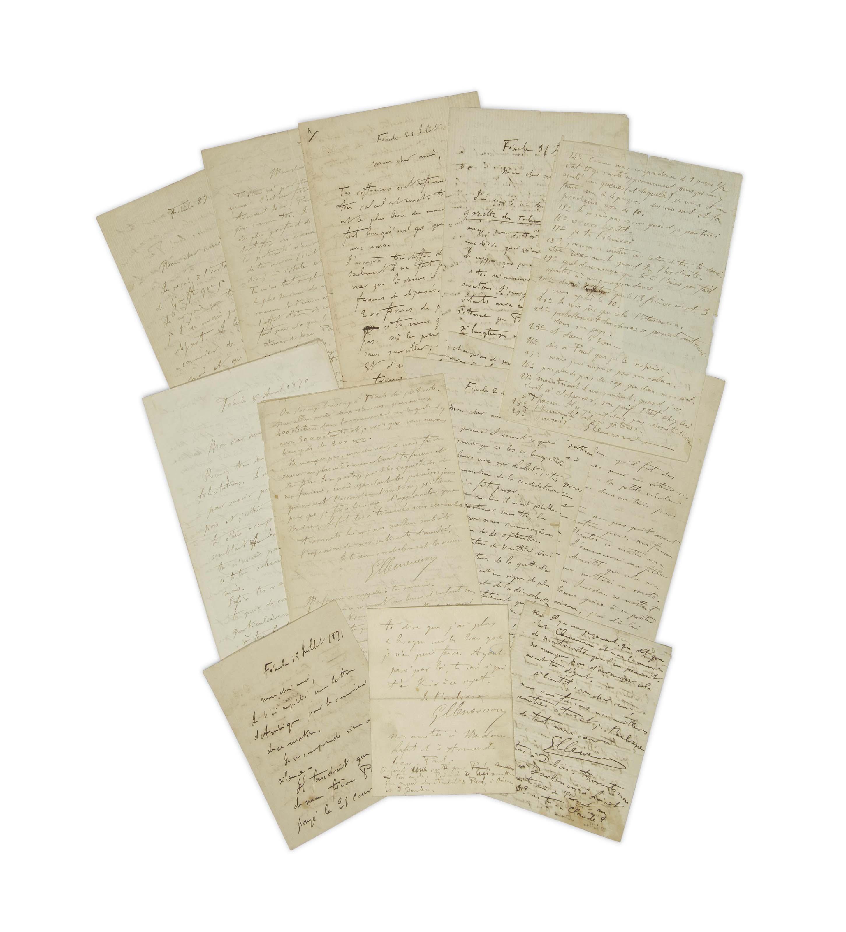 CLEMENCEAU, Georges (1841-1929).  Réunion de 11 lettres autographes signées à Jean-Antoine Lafont (1835-1908), datées de Féaule entre le 8 avril 1870 et le 28 novembre 1871. De 2 à 8 pages in-8 (212 x 135 mm). Provenance: Jean-Antoine Lafont et par descendance au propriétaire actuel.