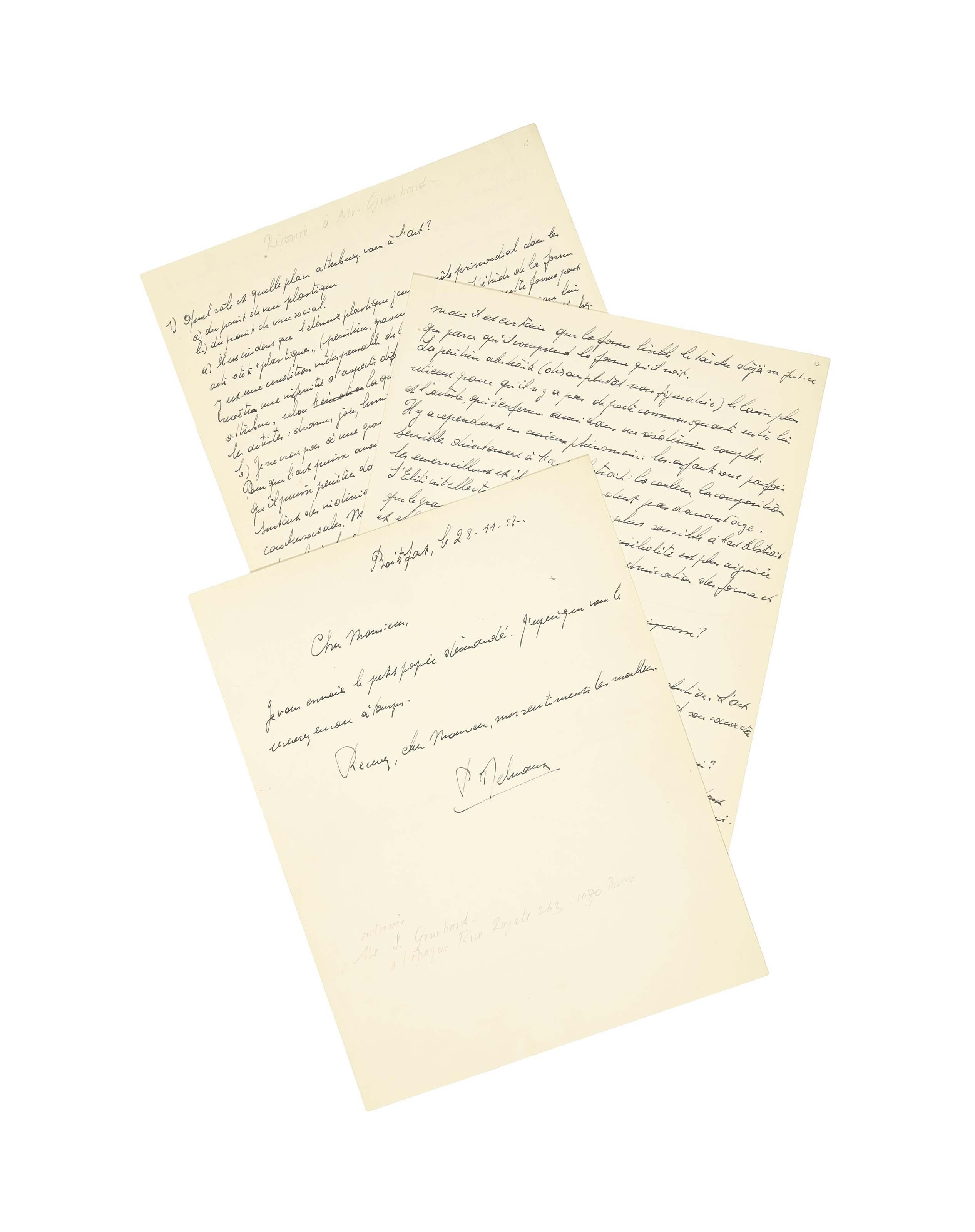 """DELVAUX, Paul (1897-1994). Manuscrit autographe signé """"P. Delvaux"""". 3¼ pages in-4 (270 x 210mm); avec une lettre autographe signée, 28 novembre 1952. """" Je vous envoie le petit papier démandé"""". Une page in-4."""