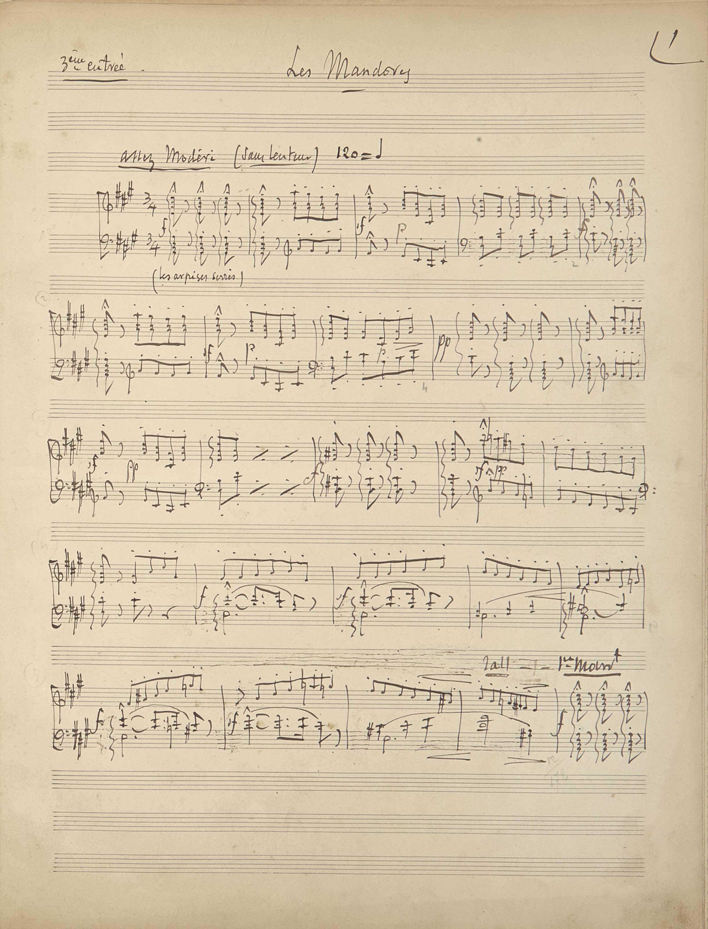 """MASSENET, Jules (1842-1912). Manuscrit autographe musical, """"Les Mandores"""", marqué """"3ème entrée"""", pour piano, gratté et corrigé en plusieurs endroits, 90 mesures sur 4 pages in-4 (350 x 267 mm), montées sur onglets, dédicacé sur un feuillet préliminaire, """"quelques mesures manuscriptes du 2e acte de Cendrillon: (1898)  J. Massenet  Paris, 3 Nov. 1910"""". Cartonnage marbré. (Page de dédicace brunie et déchirée)."""