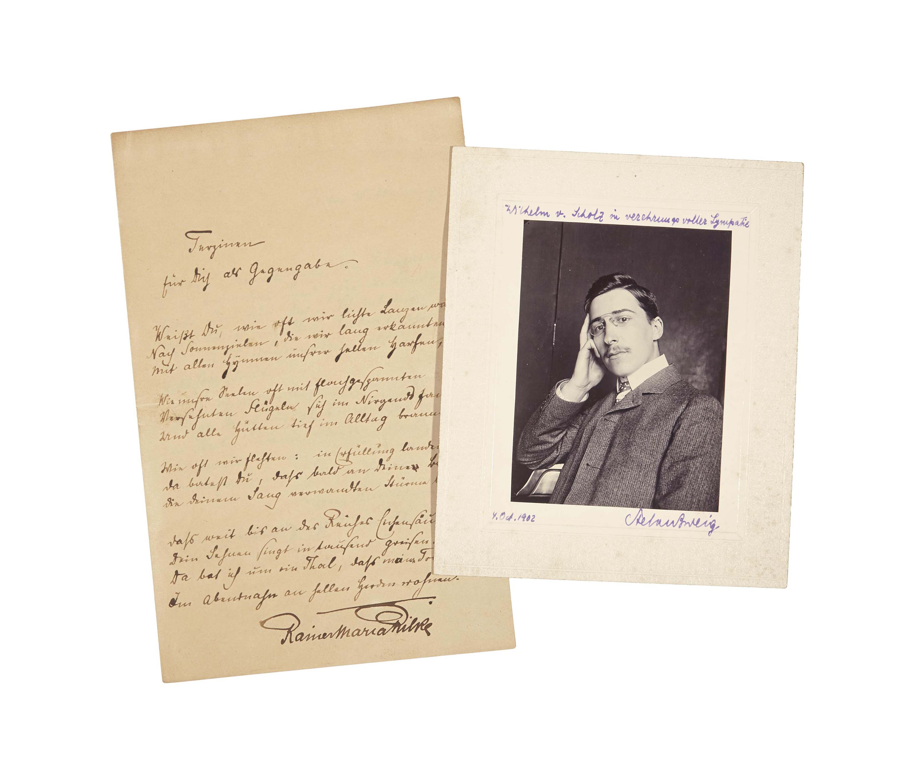 """RILKE, Rainer Maria (1875-1926). Terzine, für Dich als Gegengabe, lettre autographe avec un long poème. 2 pages sur un double feuillet in-8 (223 x 143 mm), encre brune sur papier, située, datée et signée """"Rainer, München, am 30. September 1897""""."""