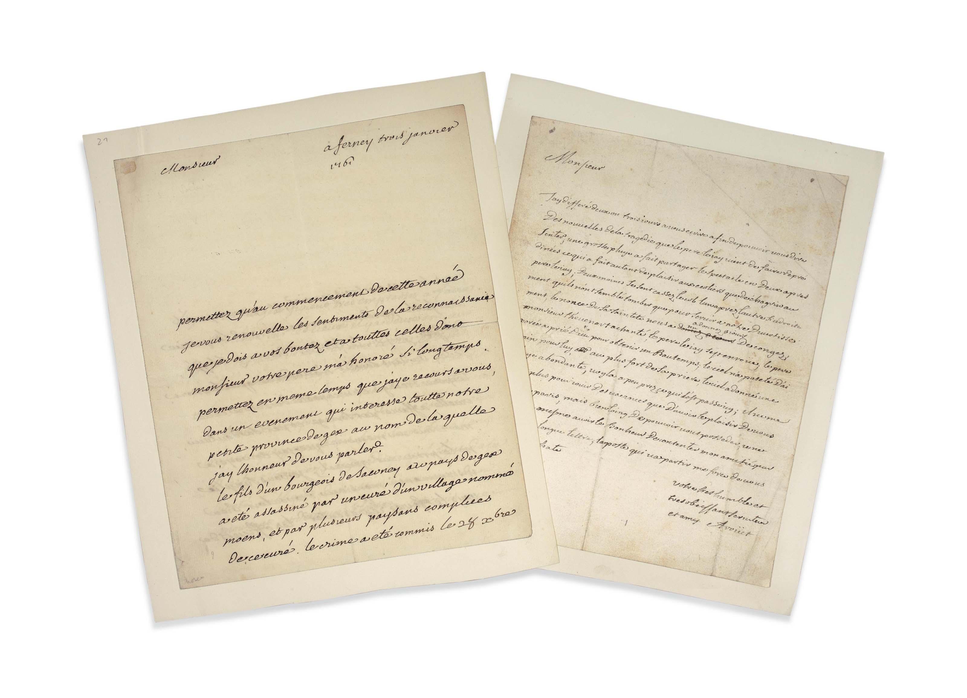 VOLTAIRE, François-Marie Arouet dit (1694-1775). Réunion de deux lettres autographes signées. Provenance: ancienne collection Tronc-Jeanson.