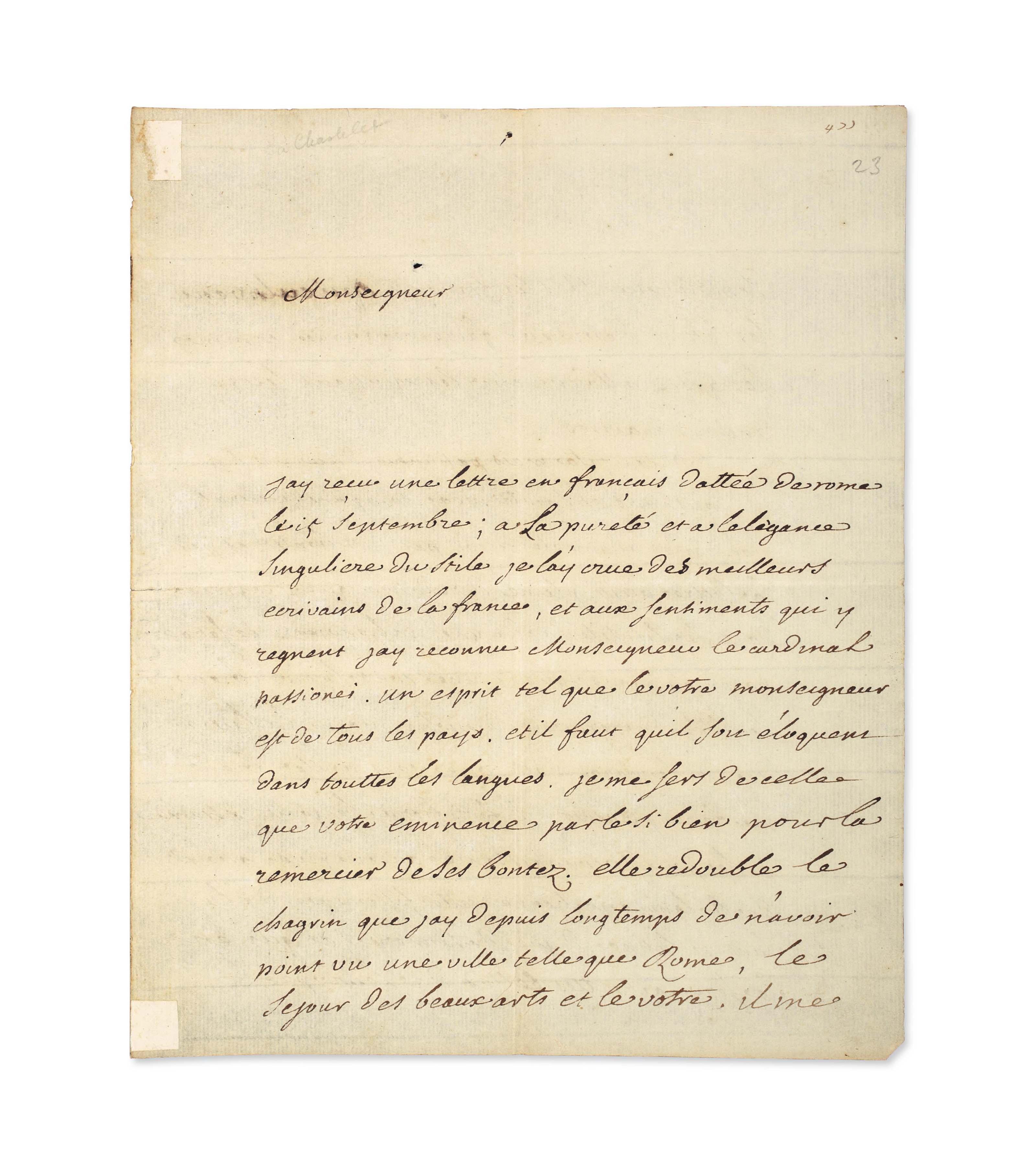 """VOLTAIRE, François-Marie Arouet dit (1694-1775). Lettre autographe signée """"Voltaire"""" au cardinal Passionei (1682-1761), bibliothécaire du Vatican, située et datée """"Fontainebleau 12 octobre 1745"""". 4 pages in-4 (228 x 185 mm) sur un double feuillet. Encre brune sur papier. (Papier légèrement jauni, traces de montage). Provenance: ancienne collection Tronc-Jeanson."""