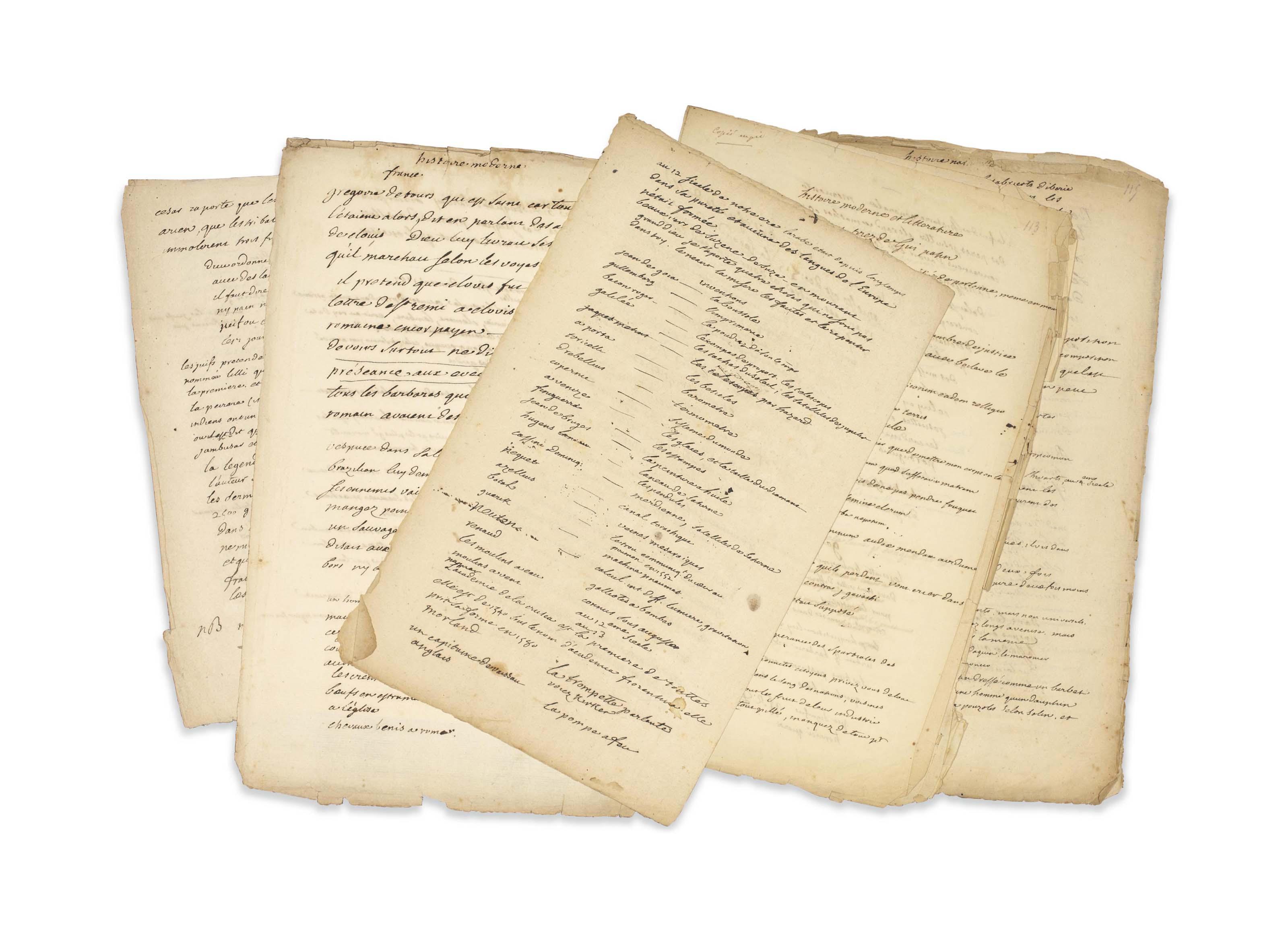 VOLTAIRE, François-Marie Arouet dit (1694-1775). Notes entièrement autographes sur divers sujets, non signées, sans date [vers 1752]. 9 feuillets in-folio (environ 340 x 215 mm) comportant 4 bifolia et un feuillet. Chacun d'eux a ultérieurement été soigneusement numéroté au crayon, lors du récollement des notes et carnets de Voltaire. Encre sur papier. (Quelques déchirures dans les marges sans perte de texte. Papier parfois jauni et sali.) Provenance: ancienne collection Tronc-Jeanson.