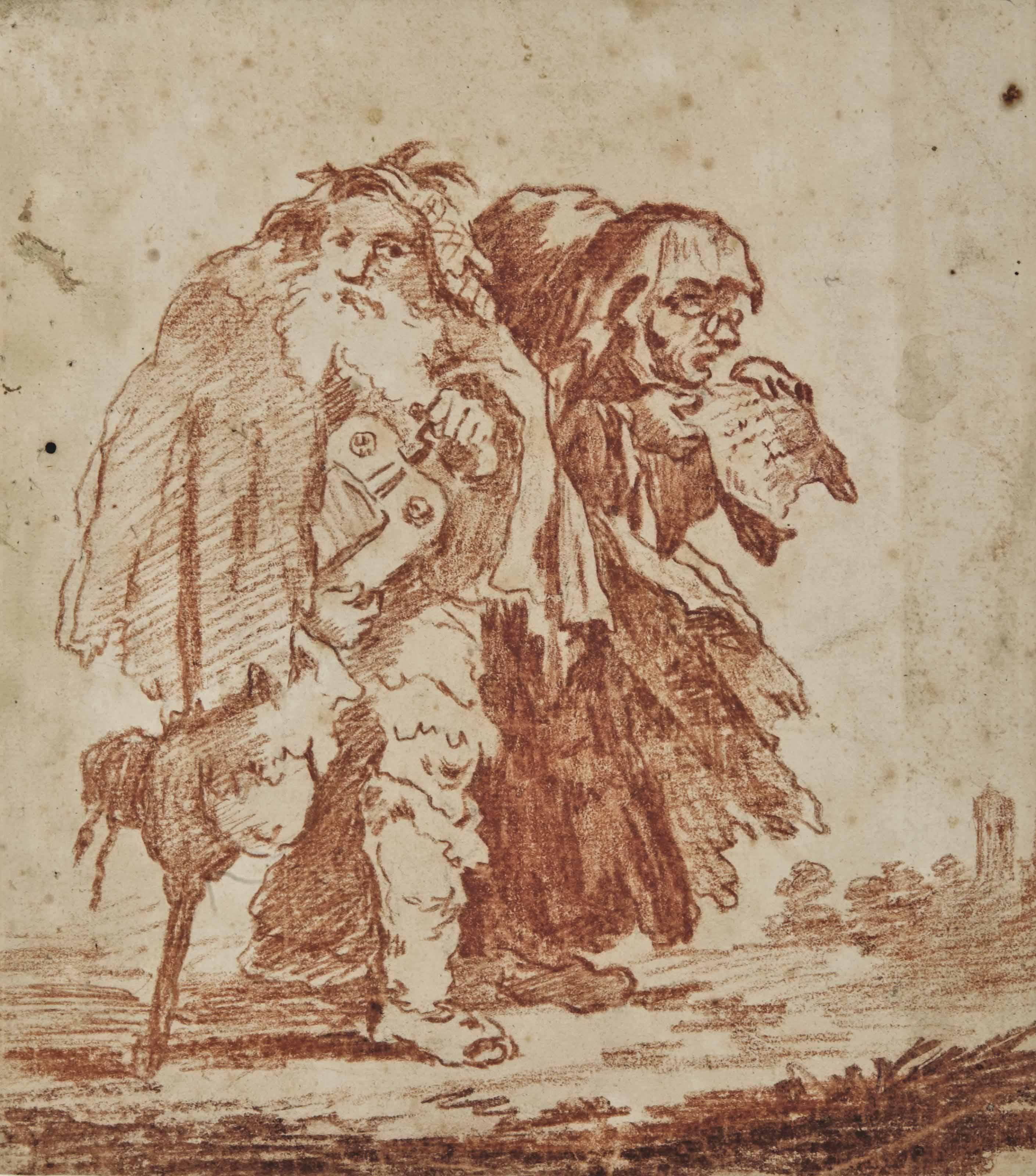 Joueur de vielle à roue accompagné d'une vieille femme