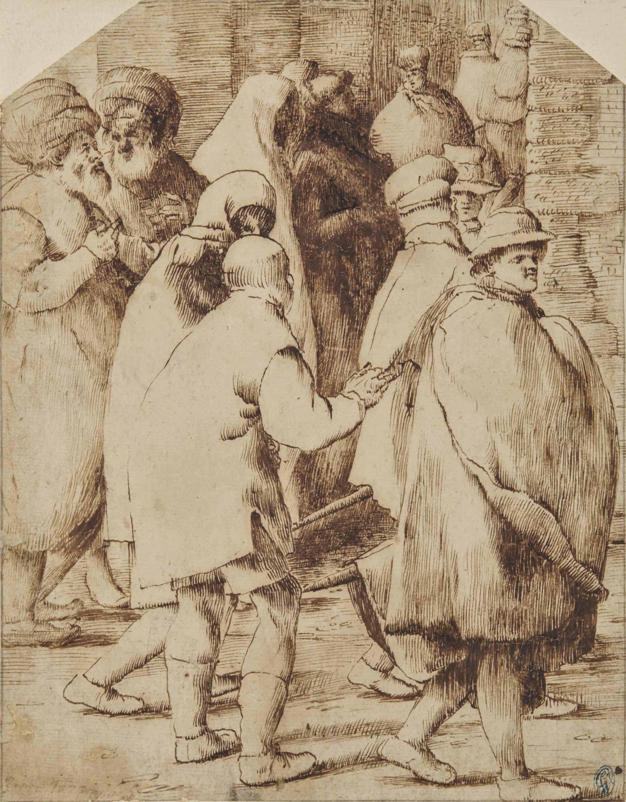 Personnages portant des capes et marchant dans une rue