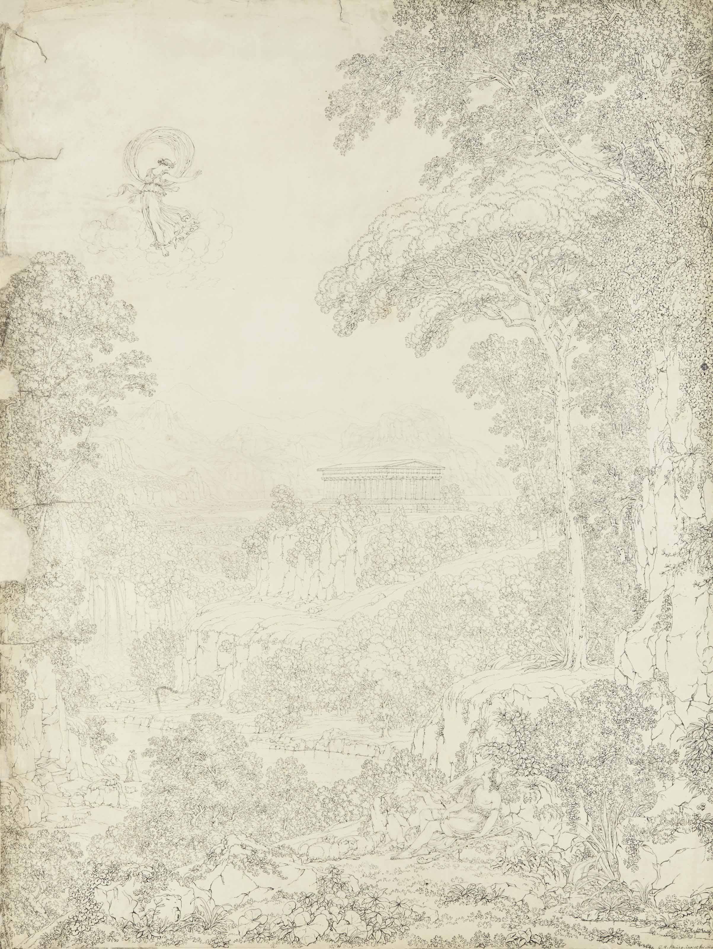 Le songe d'Endymion avec une vue idéalisée du temple de Paestum à l'arrière-plan