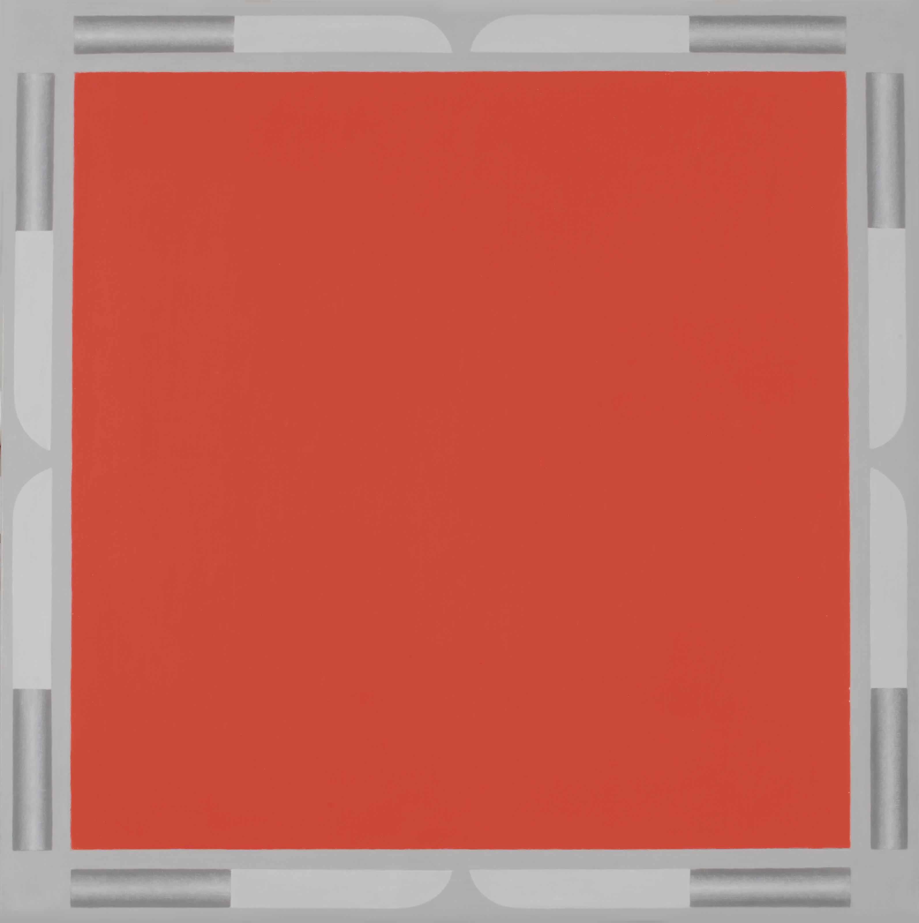 Rood vlak met messen