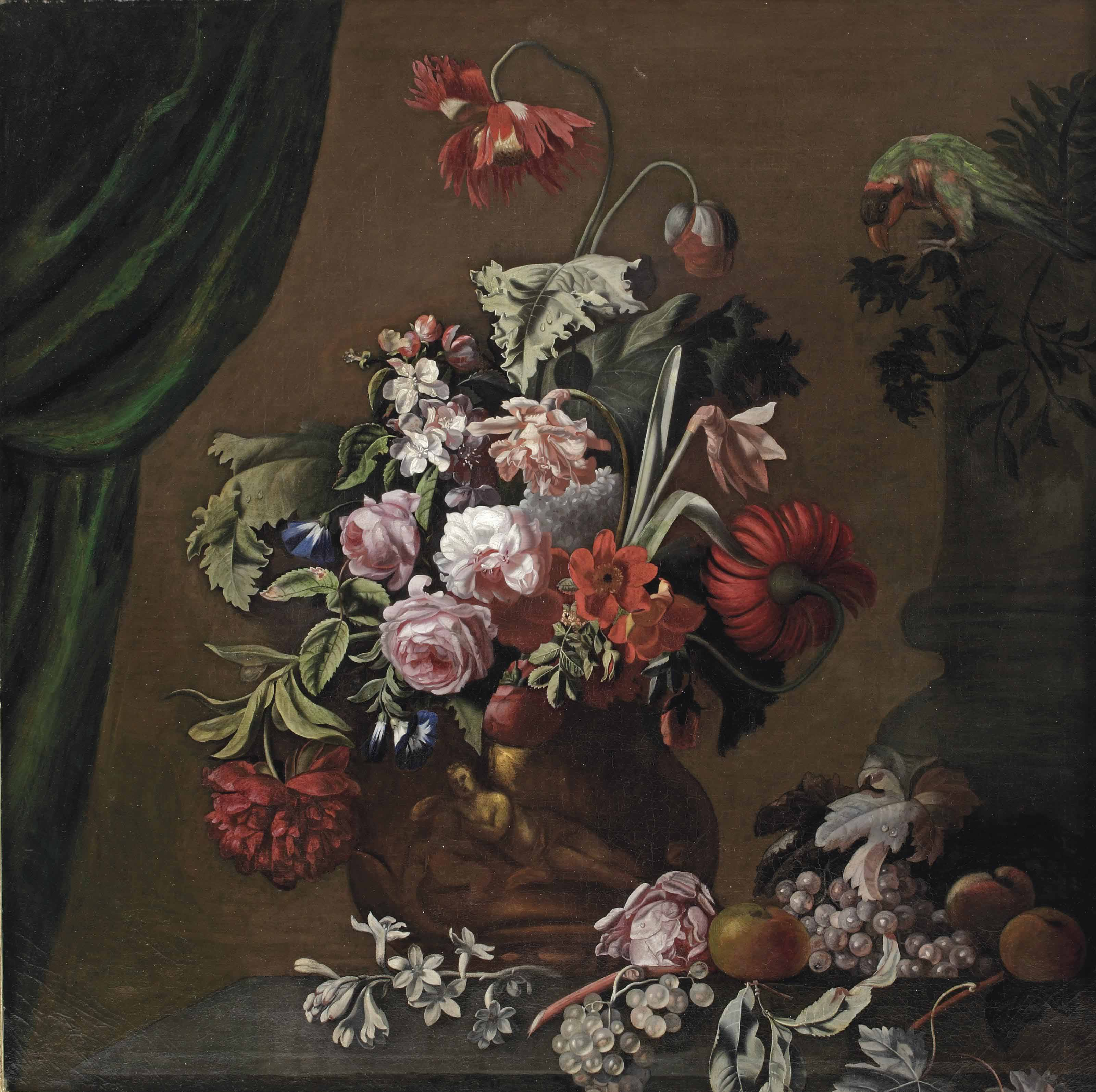 Roses, poppies and carnations in a terracotta vase, with a parrot, apples and grapes on a stone ledge, a curtain to the left