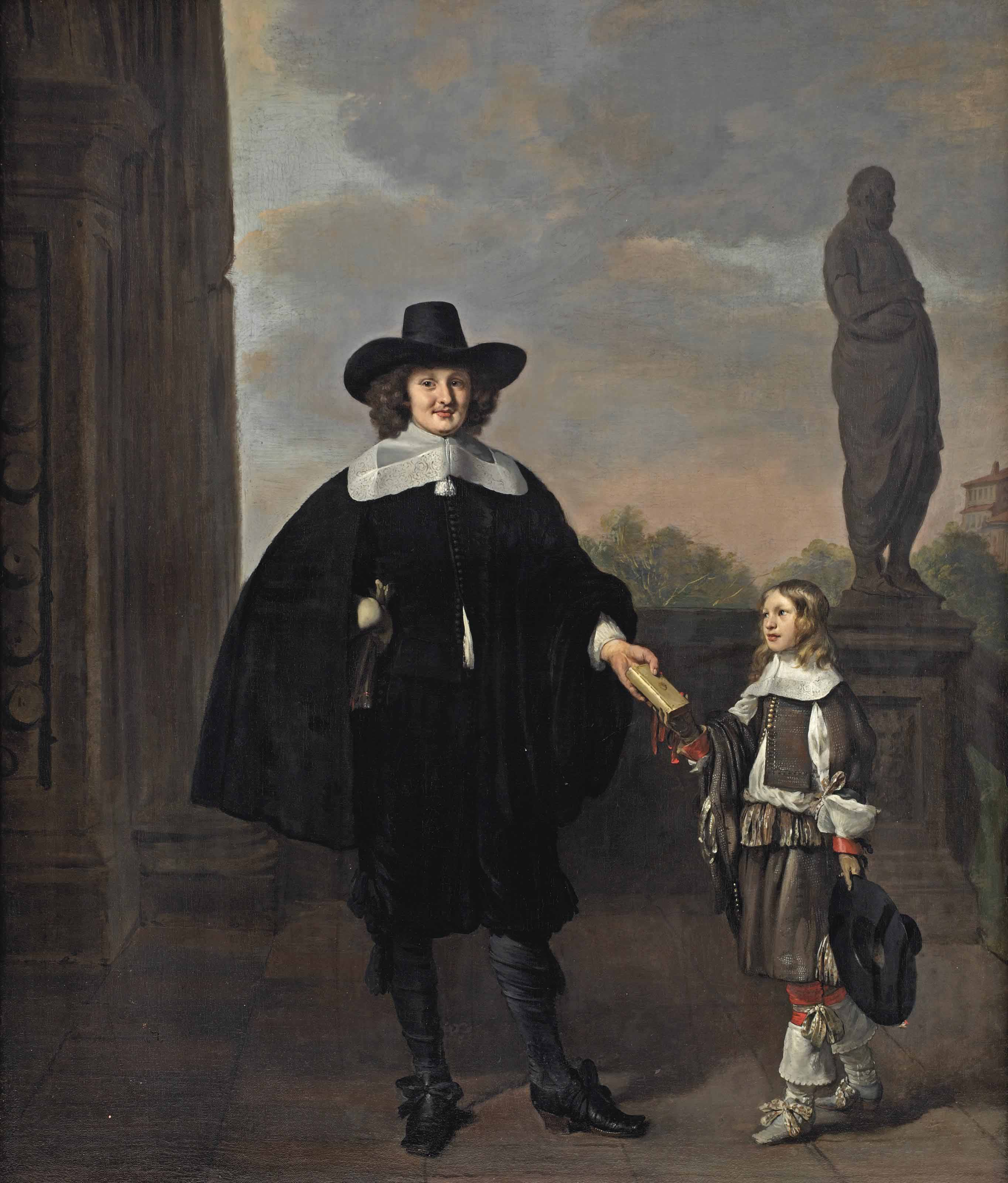 Portrait of Frederick van Velthuysen (d. 1658) and his son Dirck (1651-1716), full-length, in an Italianate park landscape with a sculpture of Homer