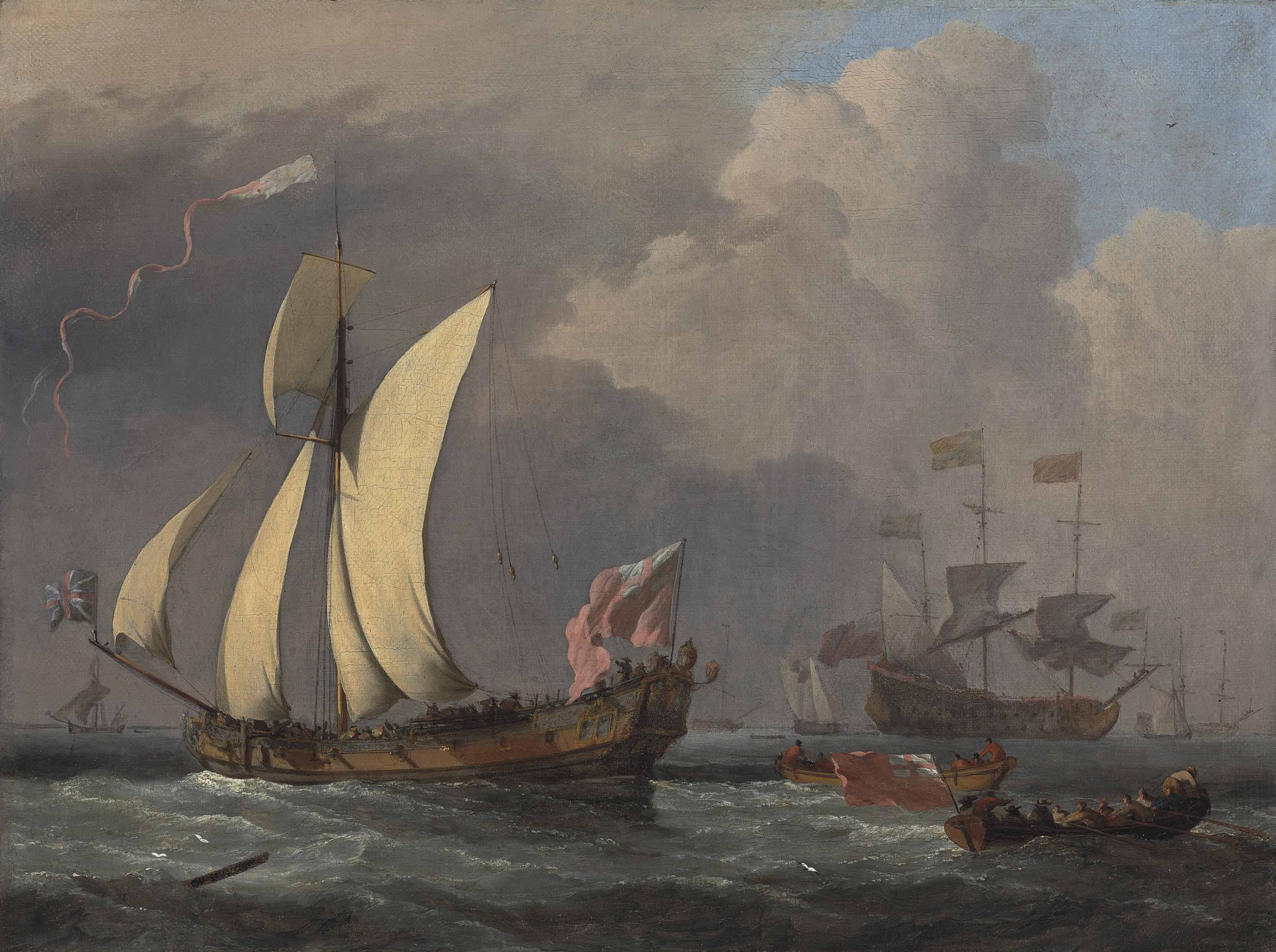 An English Royal Yacht, probably the Katherine, and a man-of-war beyond, probably the Harwich with Charles II aboard on his way to, or from Portsmouth in 1675, on the occasion of the Launch of the Royal James