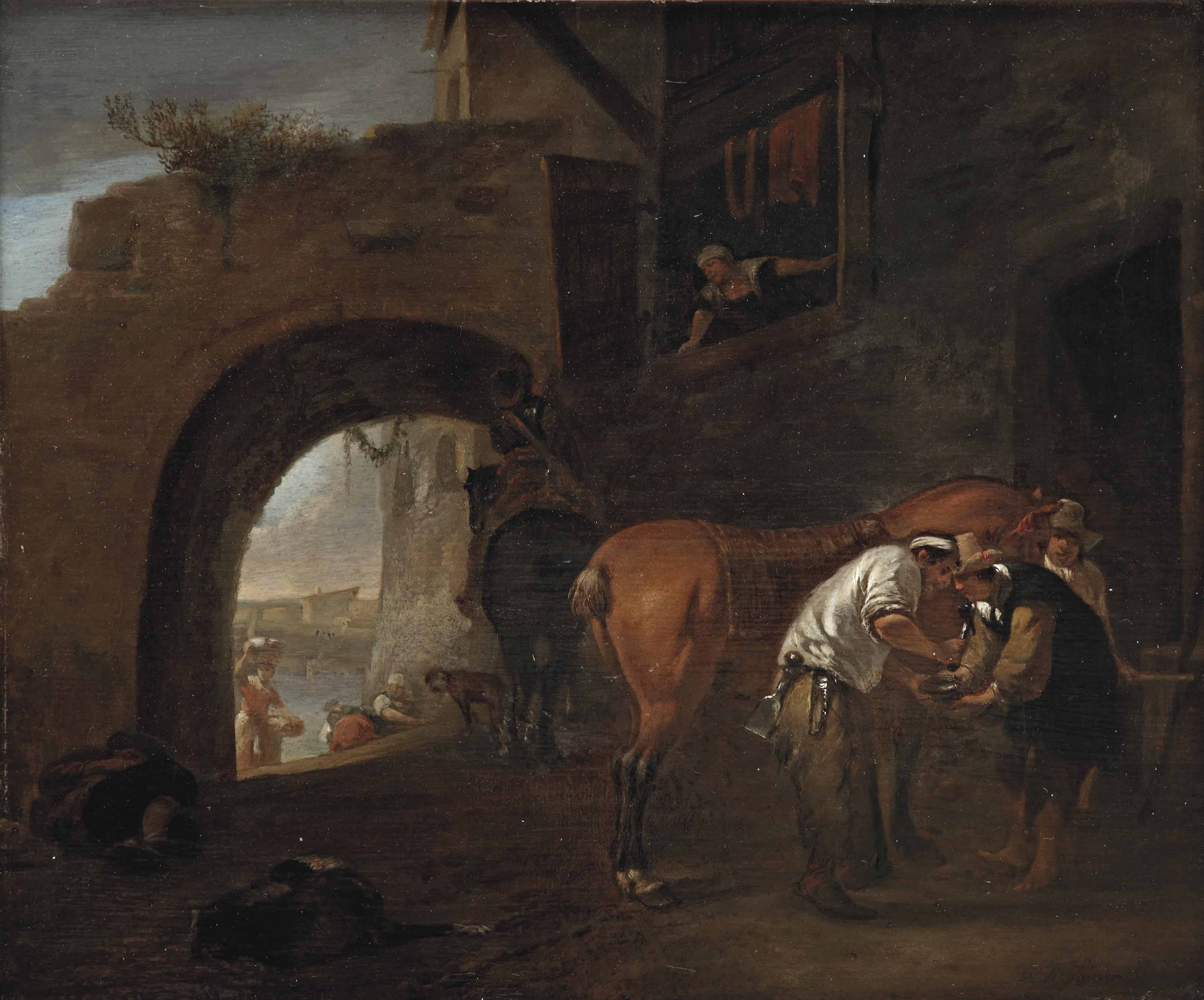 A blacksmith on the outskirts of a city wall, an Italianate river landscape beyond the archway