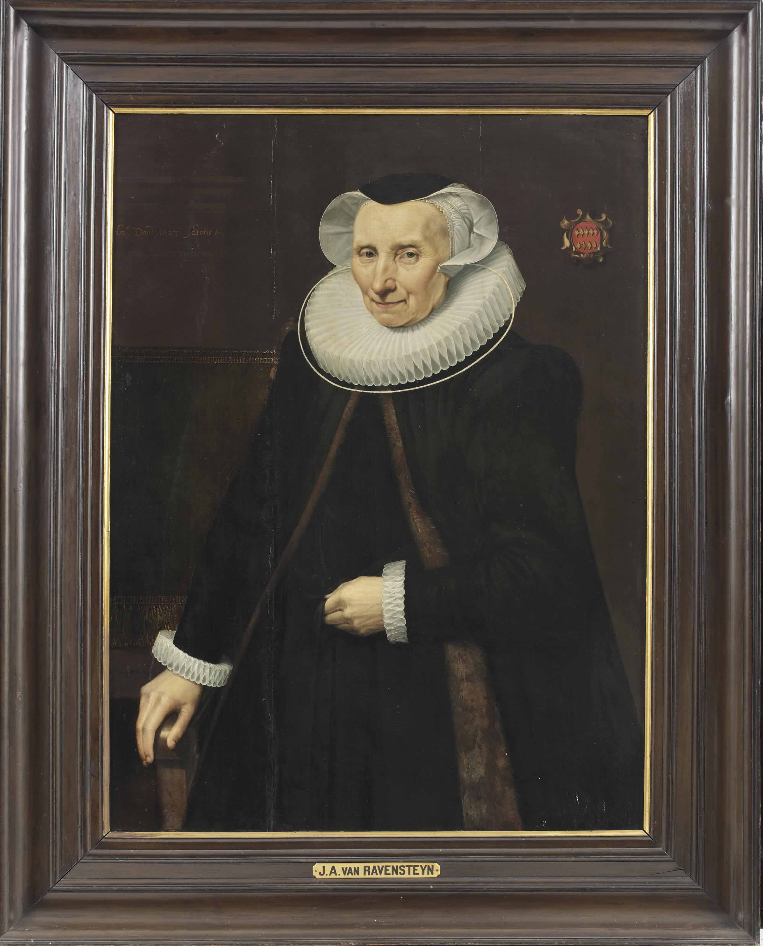Portrait of Vincentia van der Does (1543-1628), three-quarter-length, in a black gown with a fur-lined 'tabbaard', lace ruff and cap