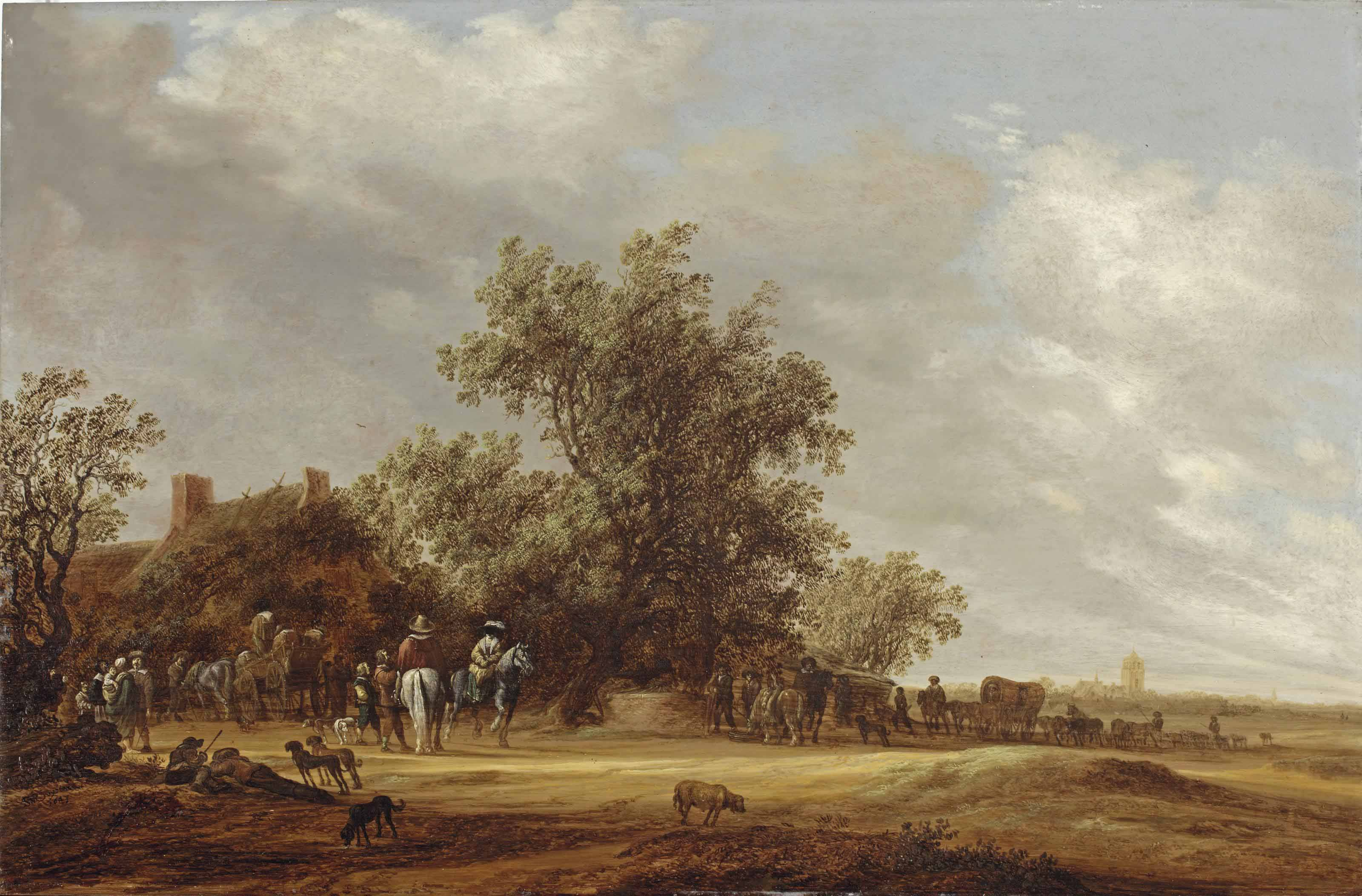 An extensive landscape with travellers halting at a farmhouse, a village beyond