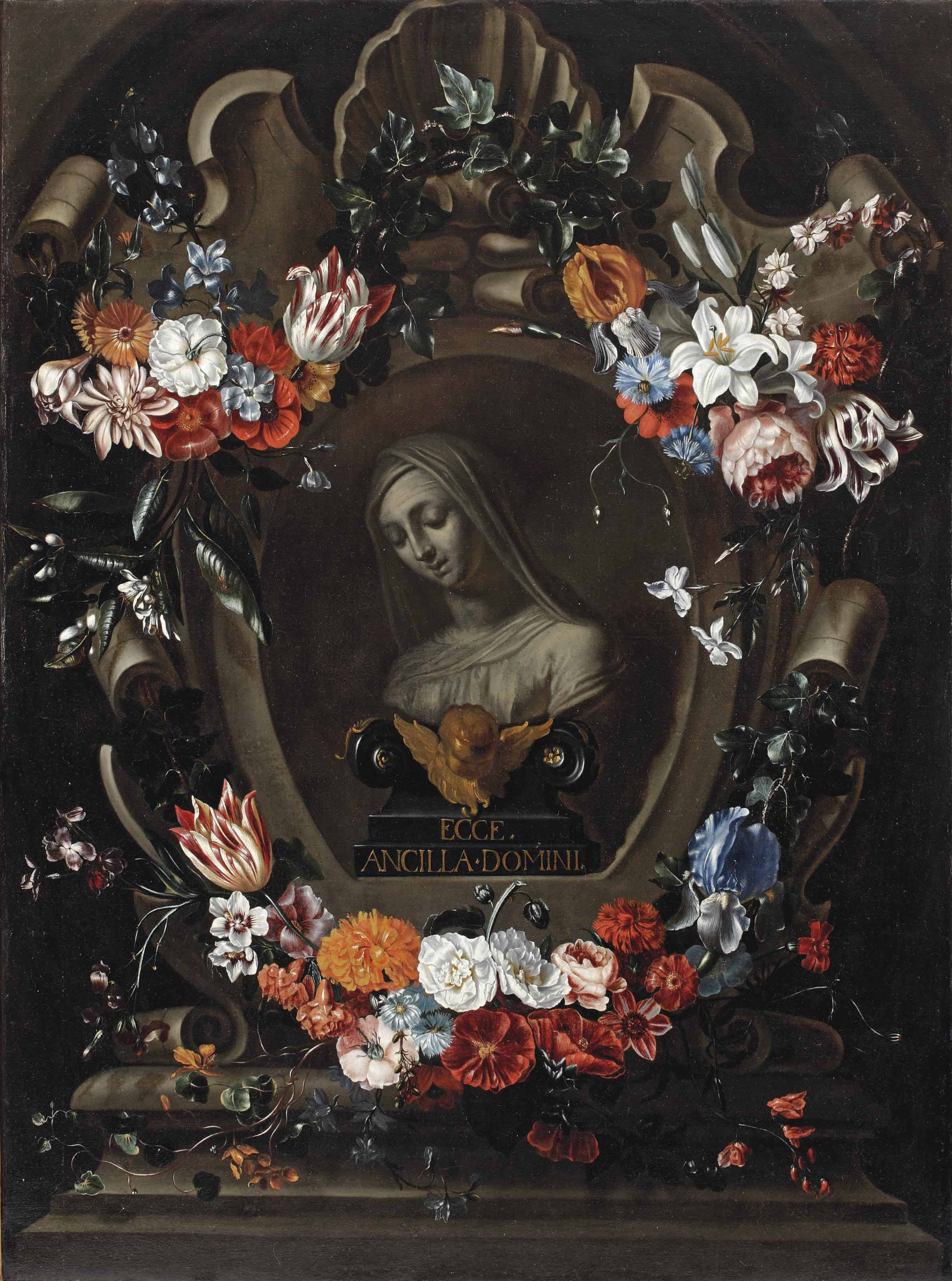 A garland of flowers surrounding a stone cartouche enclosing a bust of the Virgin