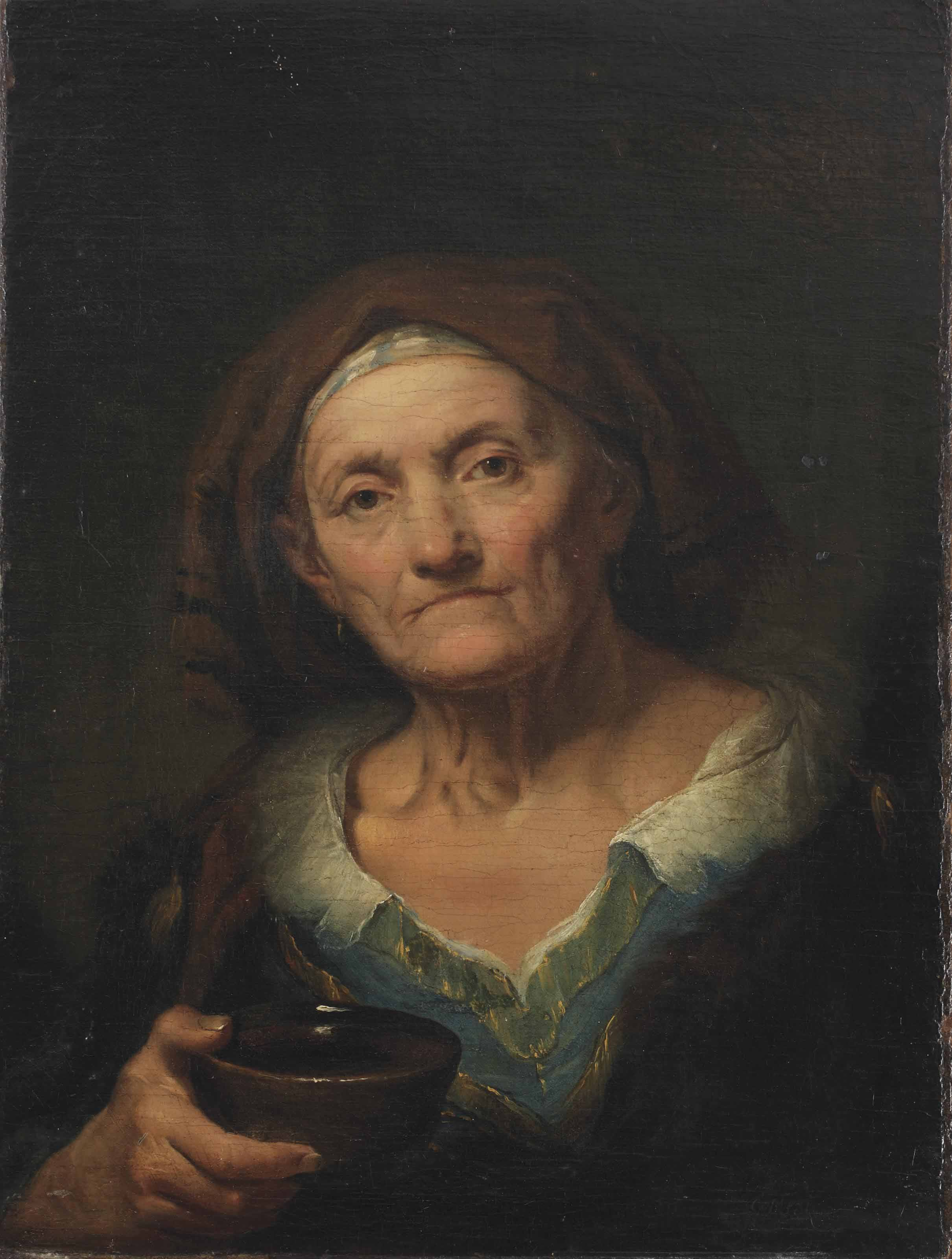 A tronie of an old woman holding a cup