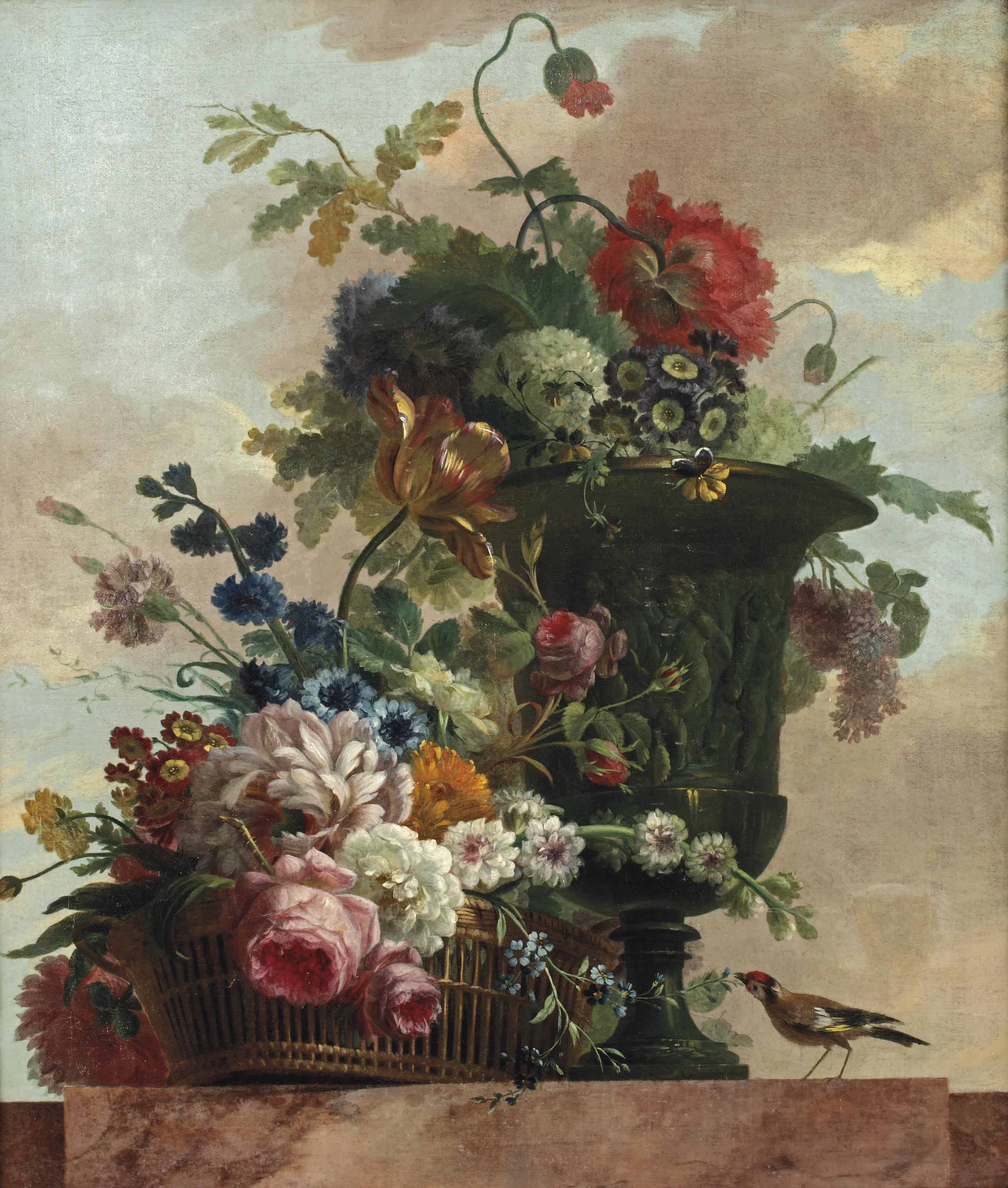 A wicker basket with roses, peonies and tulips and other flowers in a sculptured vase, with a bird on a marble ledge