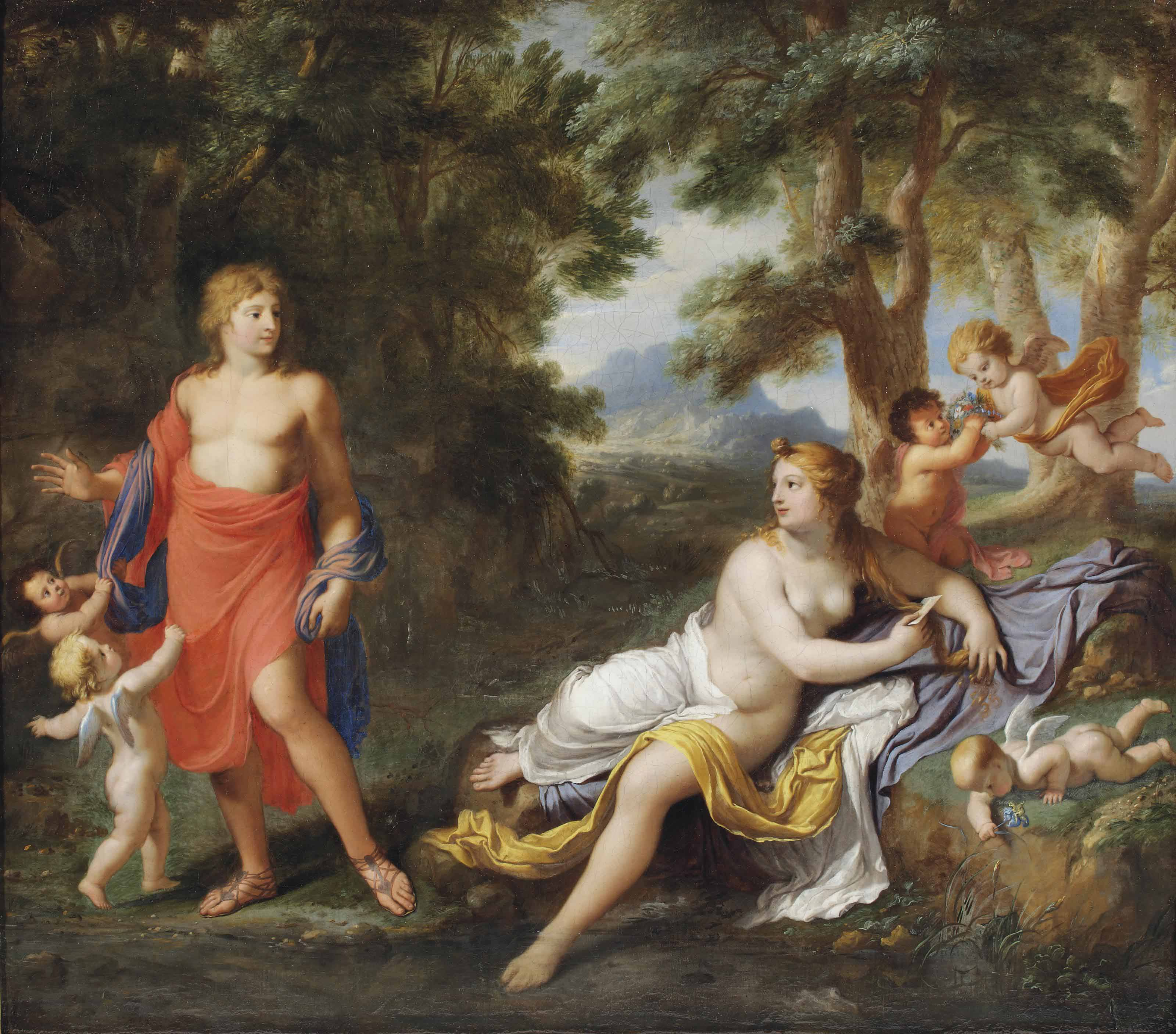A wooded, mountainous landscape with Venus and Adonis by a stream, surrounded by putti