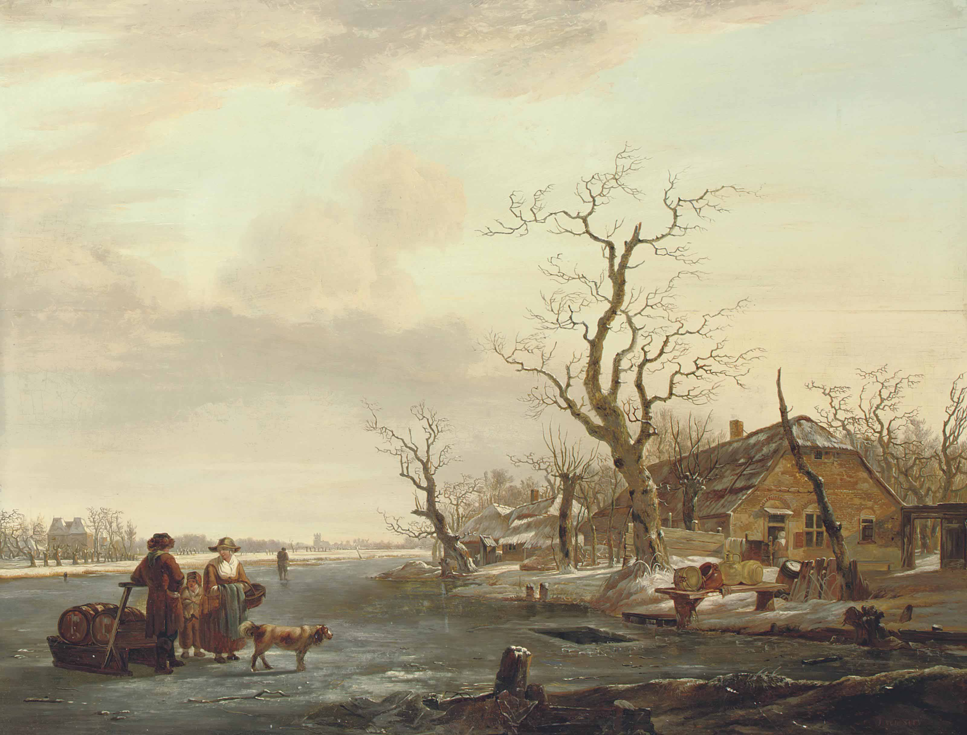 A view of Dordrecht, with figures and a dog on the frozen Devel river, the Grote Kerk beyond