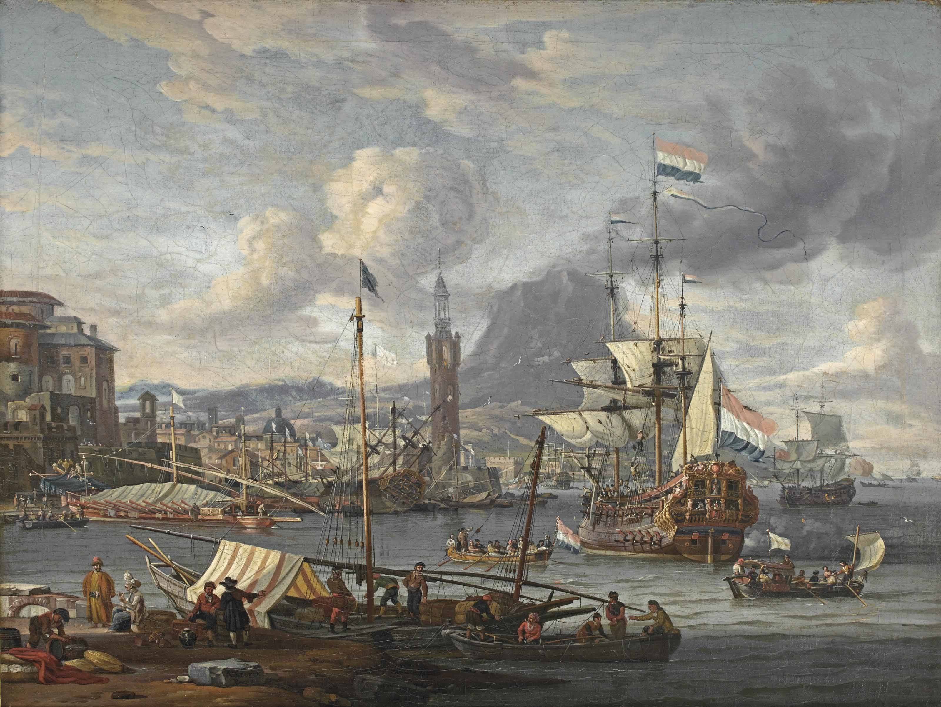 A capriccio of a mediterranean harbour with a Dutch three-master disembarking