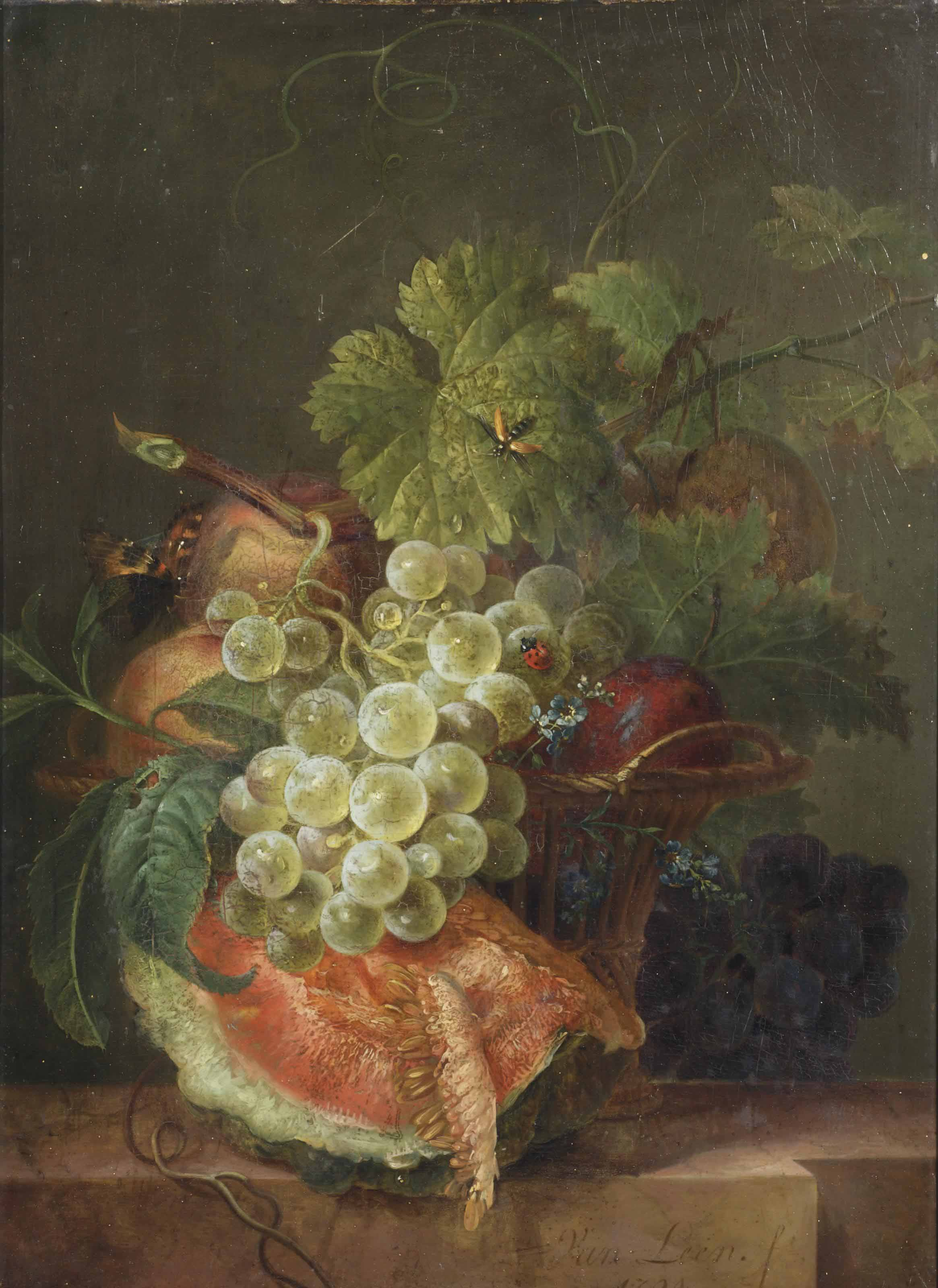 A slice of melon and grapes in a basket, with a ladybug and other insects, all on a marble ledge