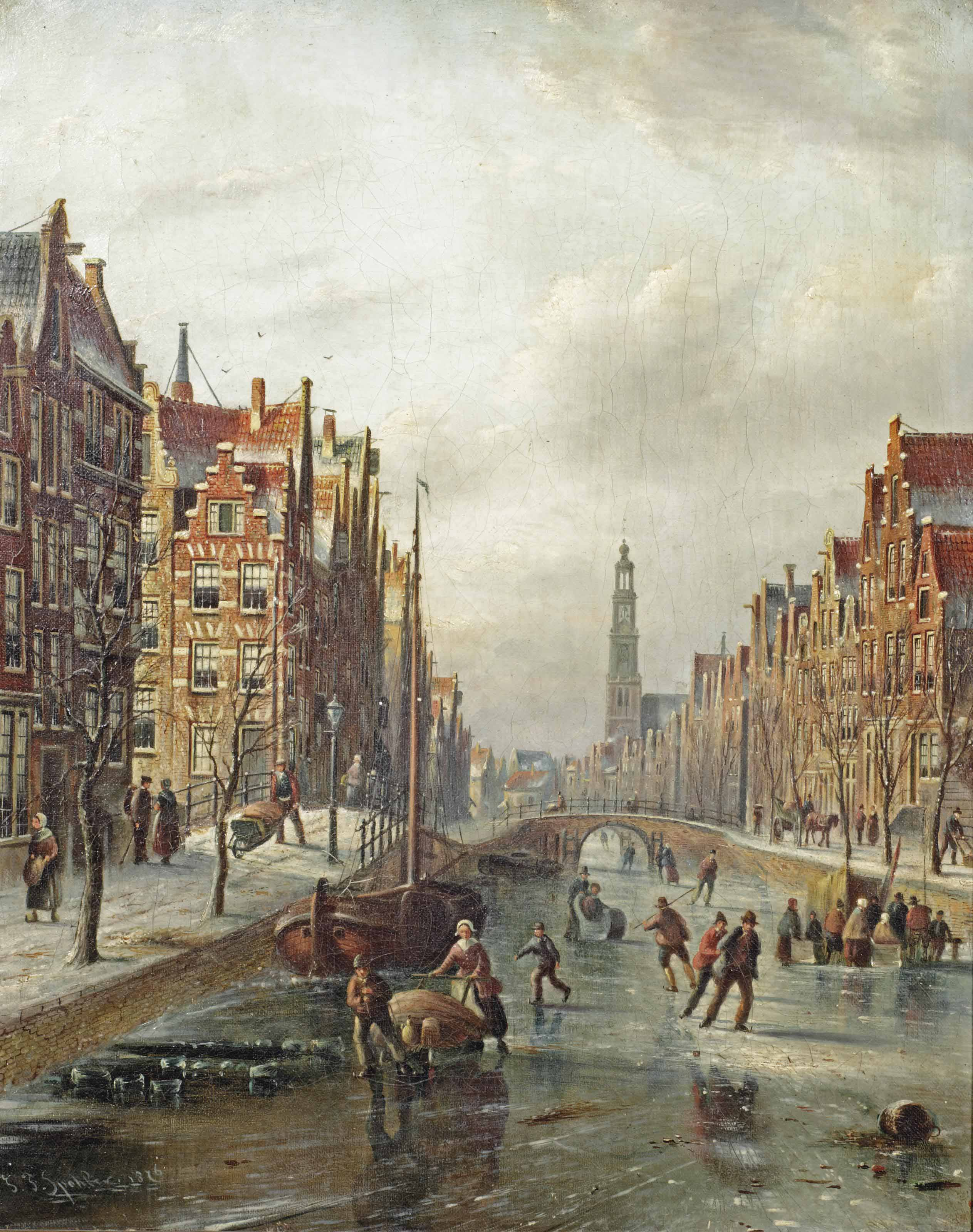 Skaters on the Prinsengracht with the Westerkerk in the distance, Amsterdam